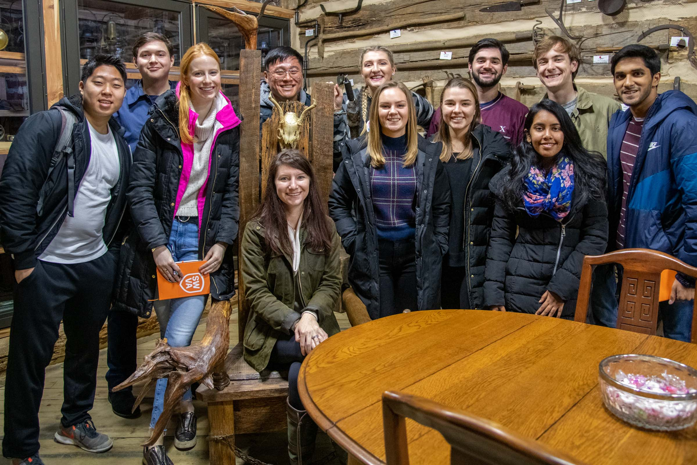 "Mahoney and her ""Impact Investing in Action: Appalachia"" students at the Mountain Heritage Museum in St. Paul."