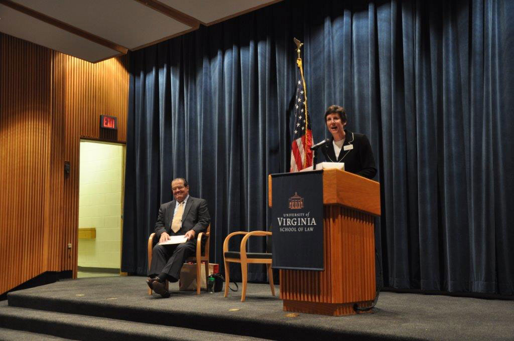 Perry introduced Justice Antonin Scalia, at left, before he gave the Henry J. Abraham Lecture at the UVA School of Law in 2010. (Photo courtesy of Robert S. Capon)