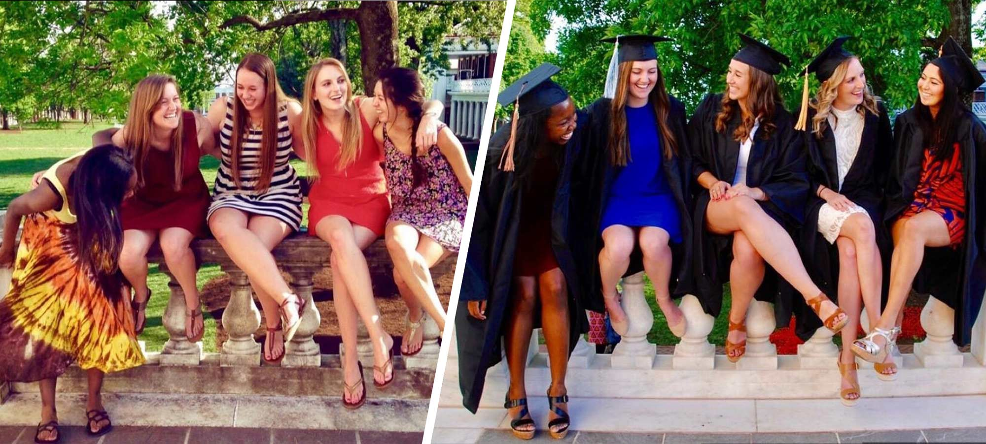 Dupree and her friends recreated their first-year photo for graduation. From left to right: Chanel DuPree, Deanna Madagan, Abby Systma, Kaitlyn Colliton and Jennifer Cifuentes.
