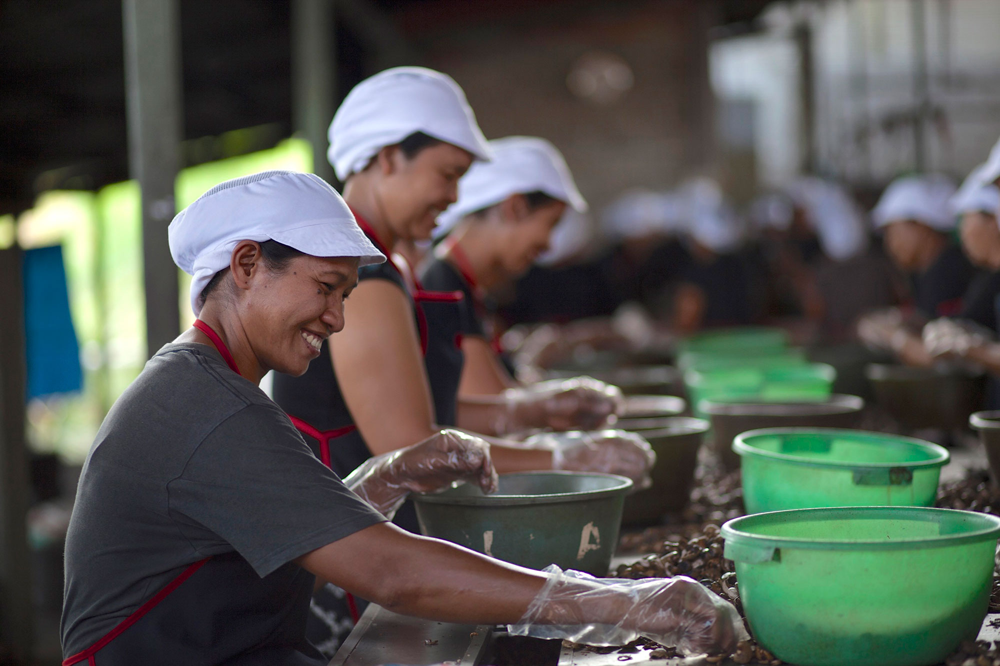 Ninety-five percent of the employees at East Bali Cashew are women.