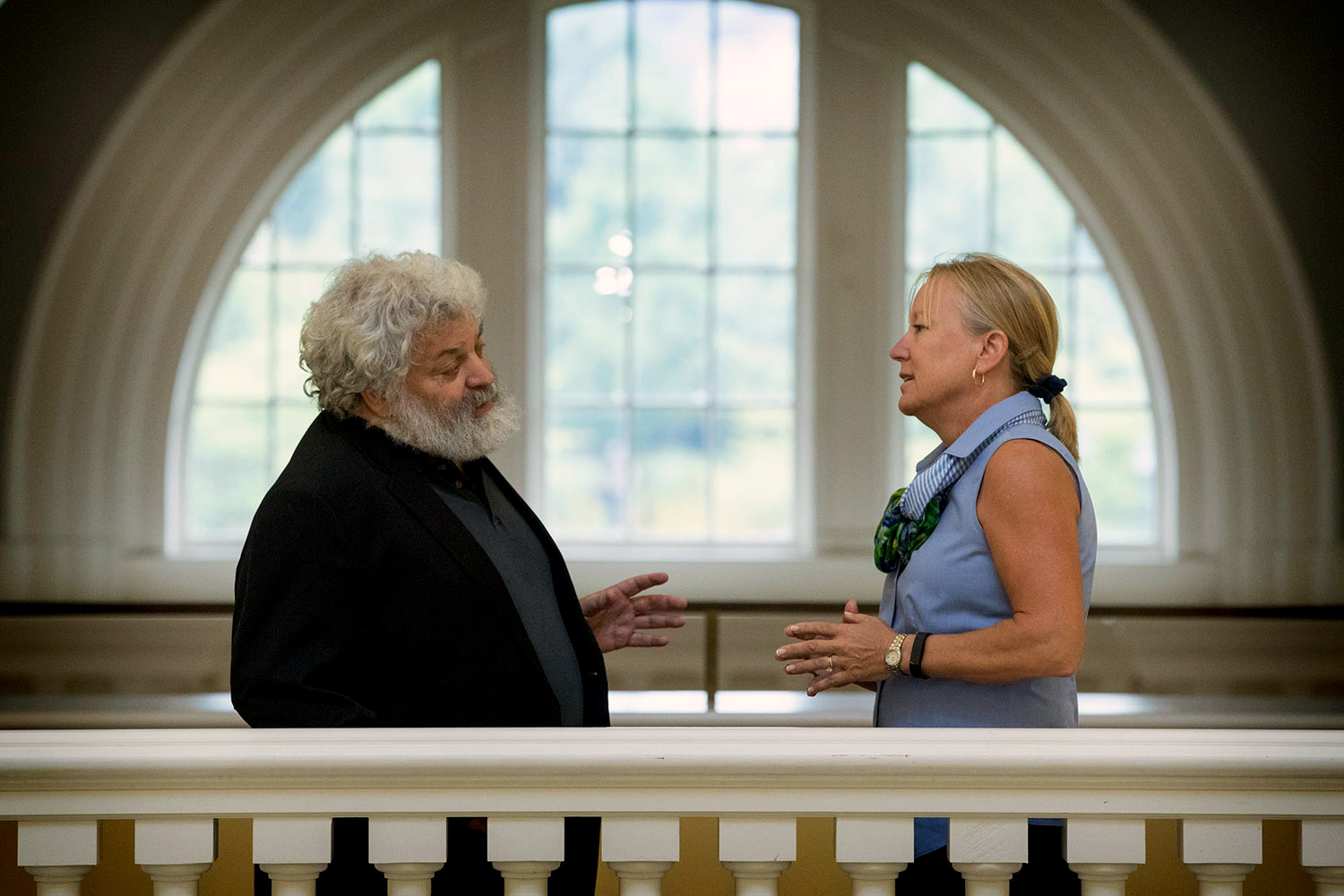 R. Edward Freeman, left, teaches a required business ethics course at Darden, while Luann Lynch, right, incorporates ethics-driven case studies into her elective courses, including a new case study she and two former students wrote about the Volkswagen scandal. (Photo by Dan Addison, University Communications)