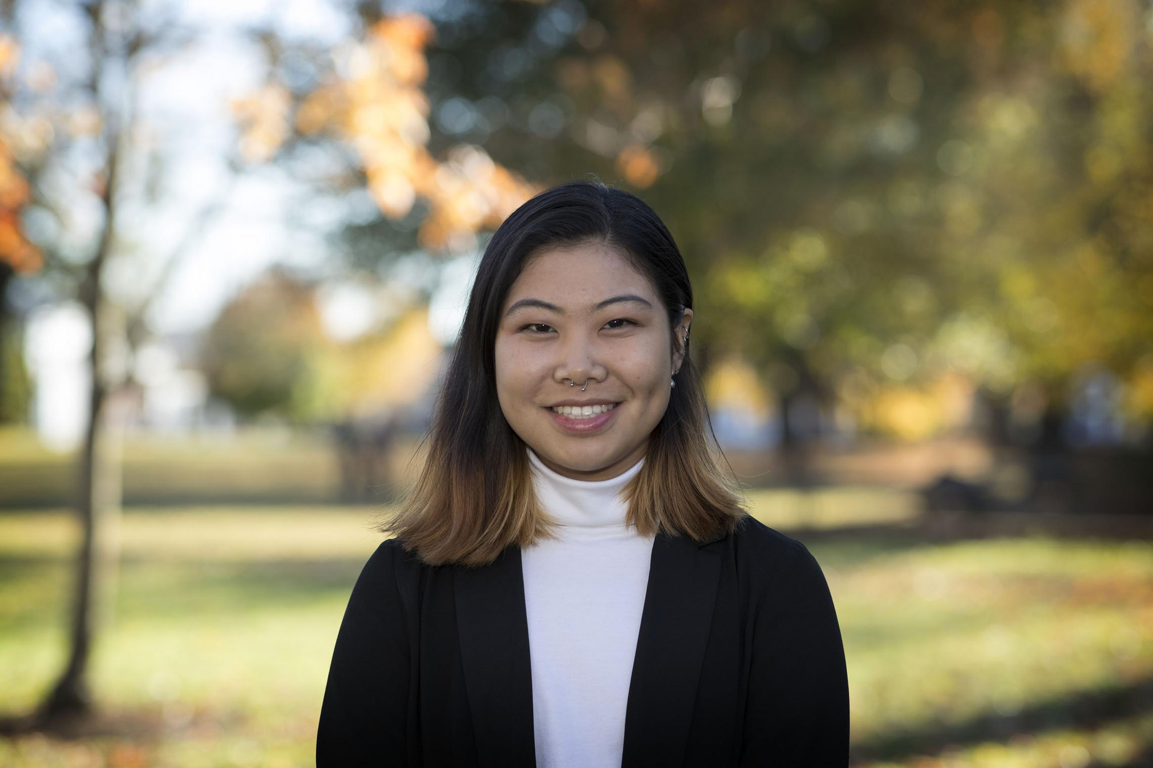 UVA's latest Rhodes Scholar Eileen Ying's current research is at the intersection of Asian diasporic speculative fiction, queerness and biopolitics. (Photo by Dan Addison, University Communications)