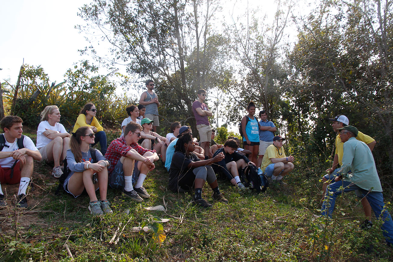 Students listen to farmers at El Paraiso in Vinales, Cuba, home to an organic farm and family-owned restaurant. (Photo courtesy of Mark White)