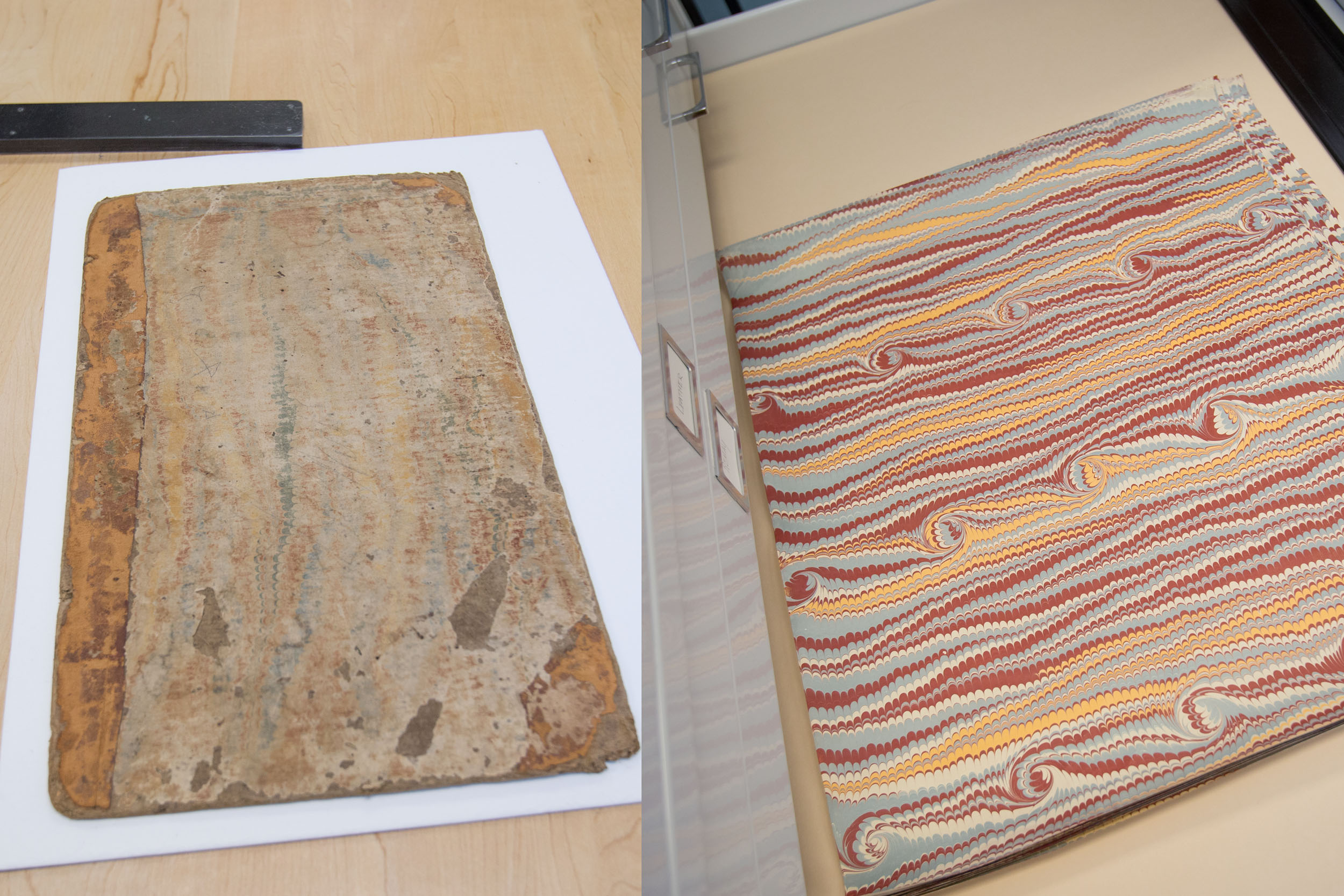 The book's new cover paper was marbled to mimic its original design.