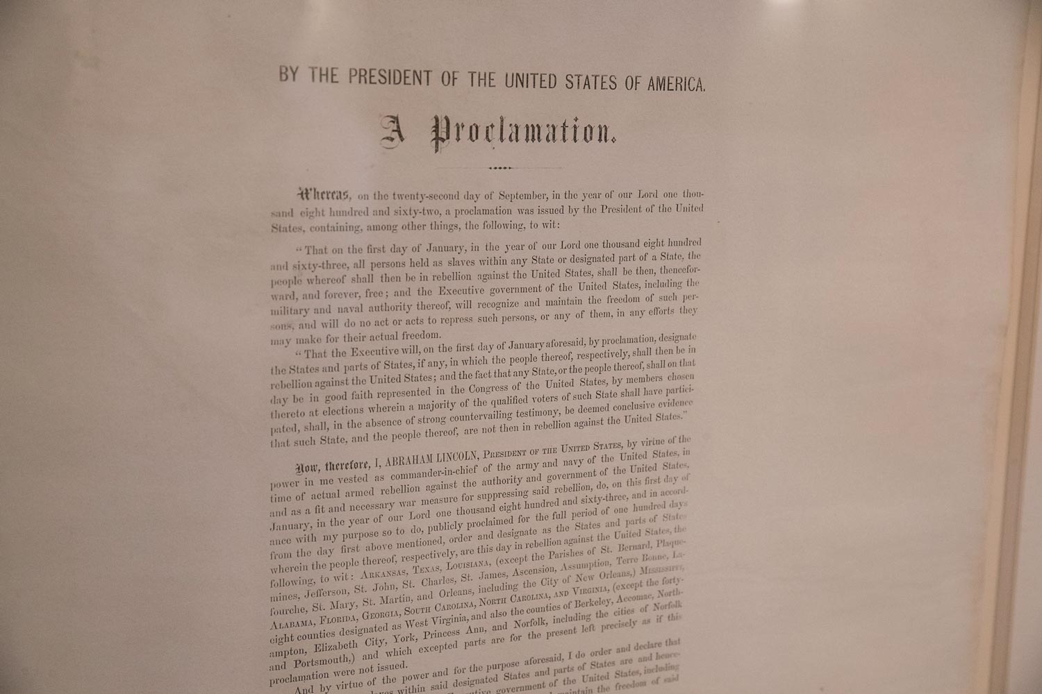 This limited edition of the Emancipation Proclamation, signed by President Abraham Lincoln, legally freed more than 3 million enslaved individuals in the 11 Southern states that had seceded from the Union.
