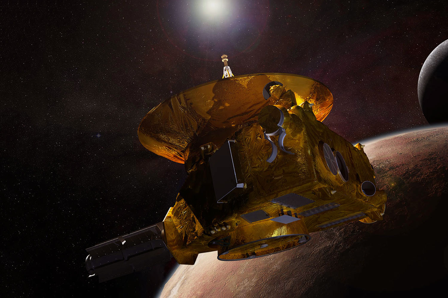 Artist's rendering of New Horizons' encounter with Pluto. (Courtesy NASA)