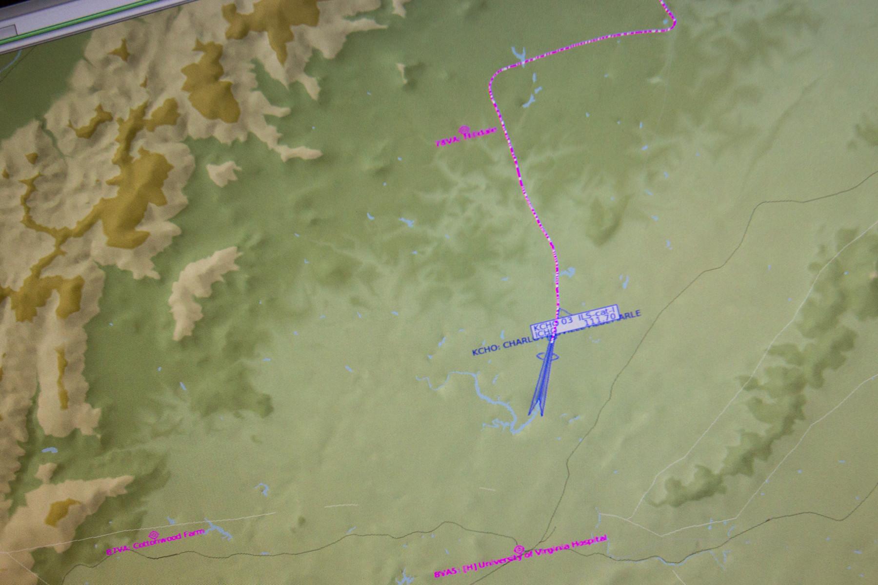 A flight path as portrayed on the flight simulator.