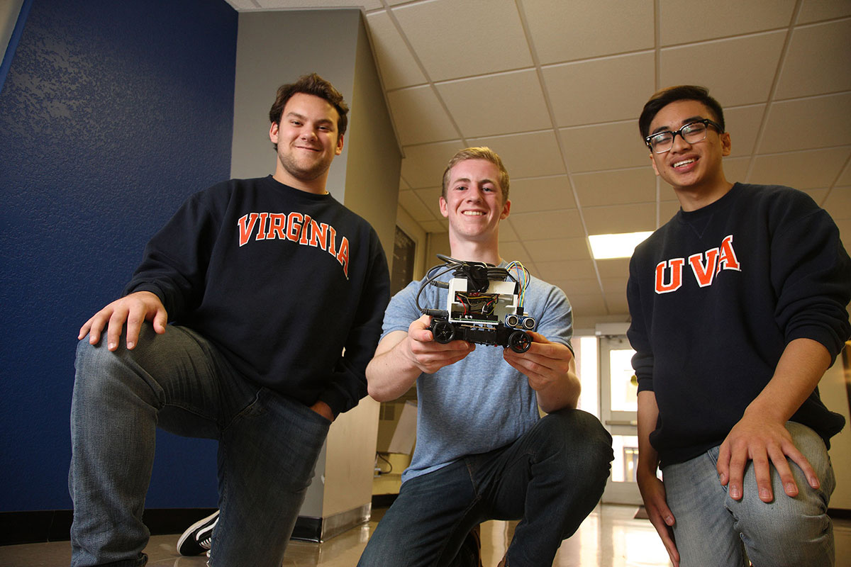 T. Coleman Goad, Brady Madden and Oliver Viyar show off their self-driving car based on the principles of echolocation.