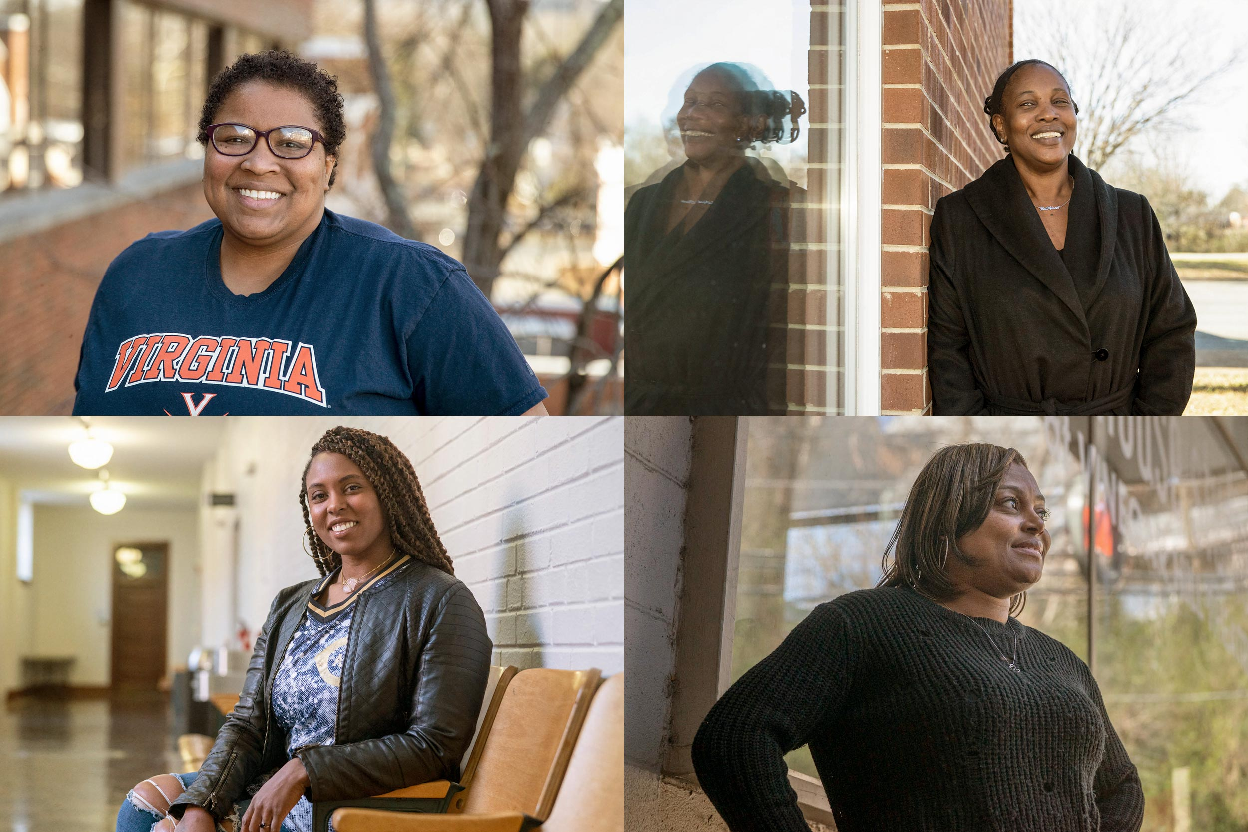 Clockwise from top left: 2020 Equity Center Community Fellows Myra Anderson, Libby Edwards-Allbaugh, Tanesha Hudson and Destinee Wright. (Photos by Sanjay Suchak and Dan Addison, University Communications)