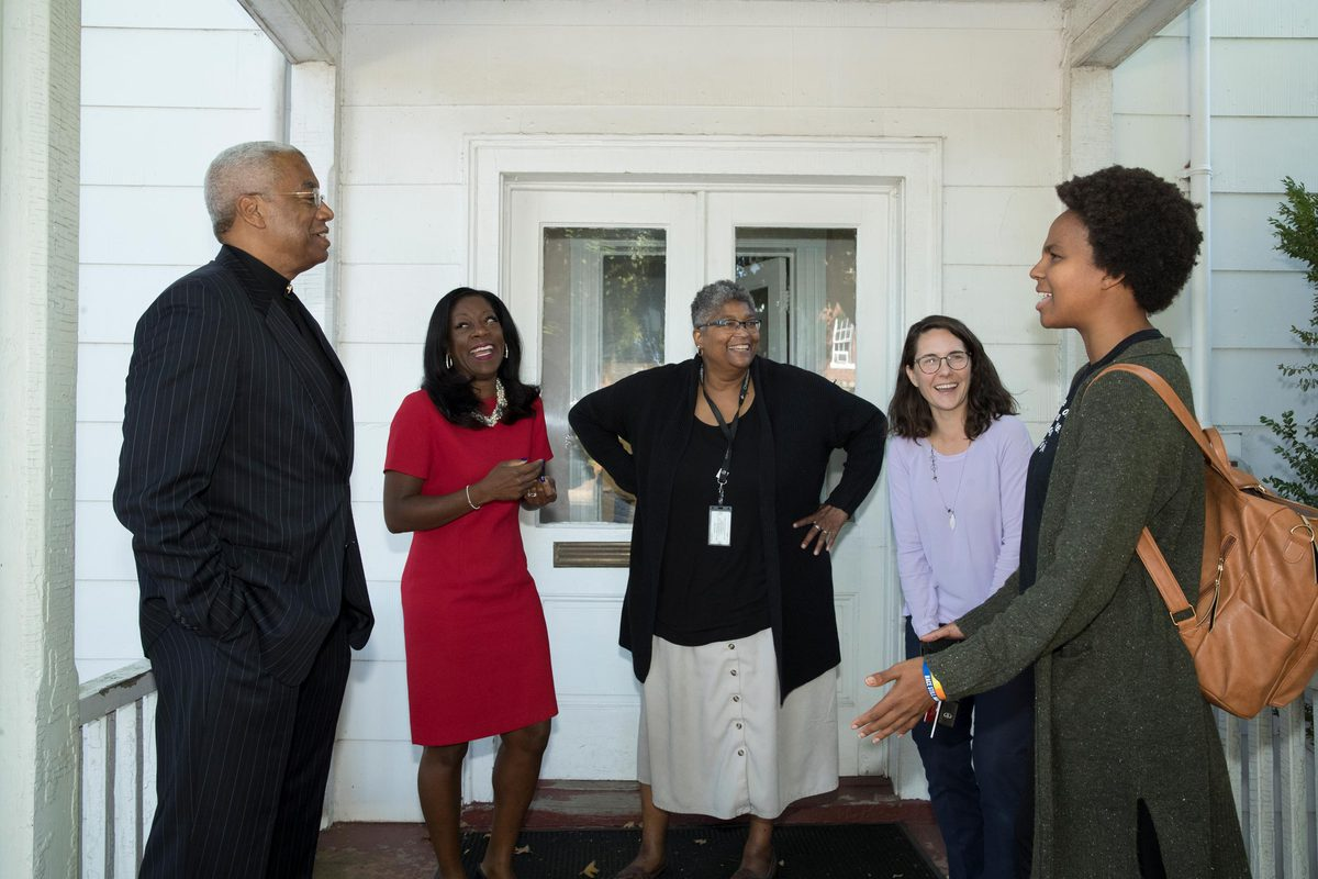 Rev. Lehman Bates, African American Pastor's Council; law professor Dayna Bowen Matthew; Charlene Green, Charlottesville Office of Human Rights; professor Barbara Brown Wilson; Siri Russell, Albemarle County Office of Equity and Inclusion.