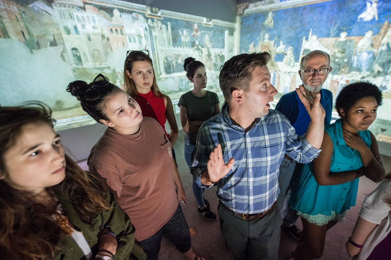 During one class period, Hupe transformed a classroom into a recreated fresco, stitching together images and projecting them on the walls.
