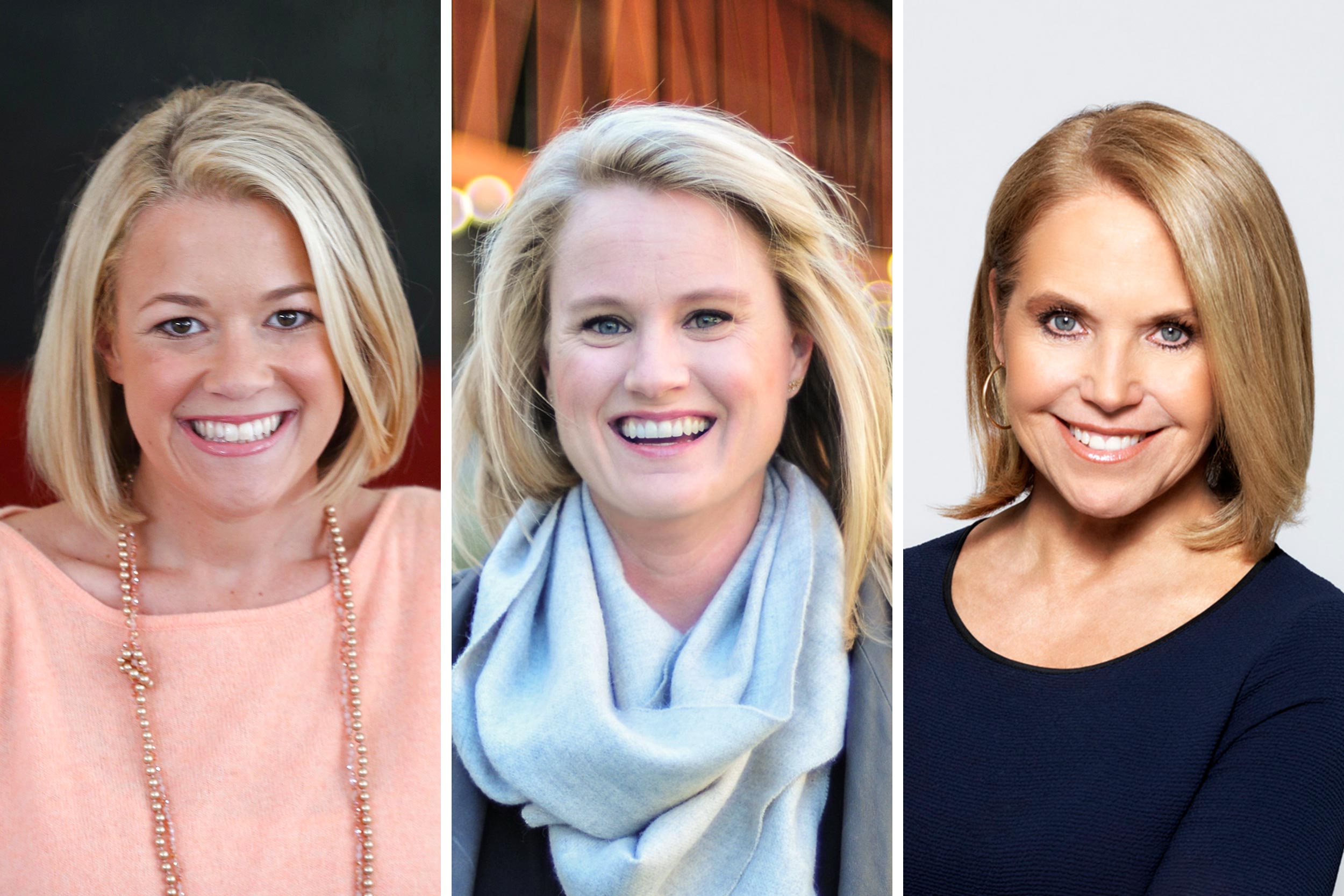 "Erin Bernhardt, left, and Din Blankenship, center, were eager to learn from fellow UVA graduate Katie Couric, right, when she signed on as executive producer for ""Clarkston."""
