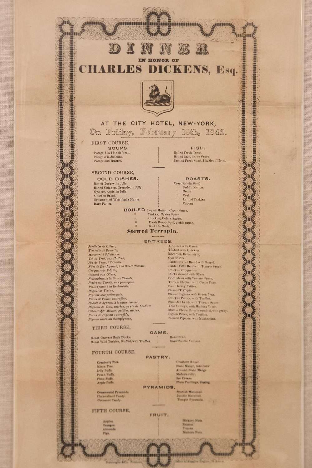This extensive menu for a dinner honoring Charles Dickens' 1842 tour of America includes stewed pigeons – meaning the passenger pigeon, which was hunted and eaten into extinction.