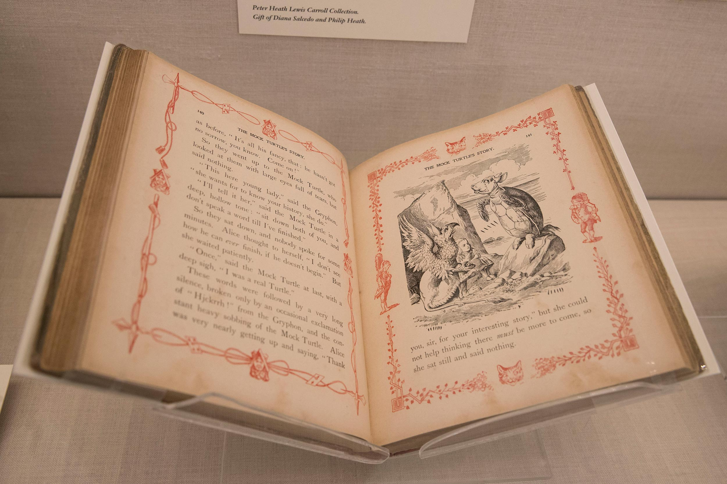 "Lewis Carroll's ""Alice in Wonderland"" imagines the mock turtle – as in mock-turtle soup – as a real animal, depicted with ears and a snout by John Tenniell in this 1902 edition."