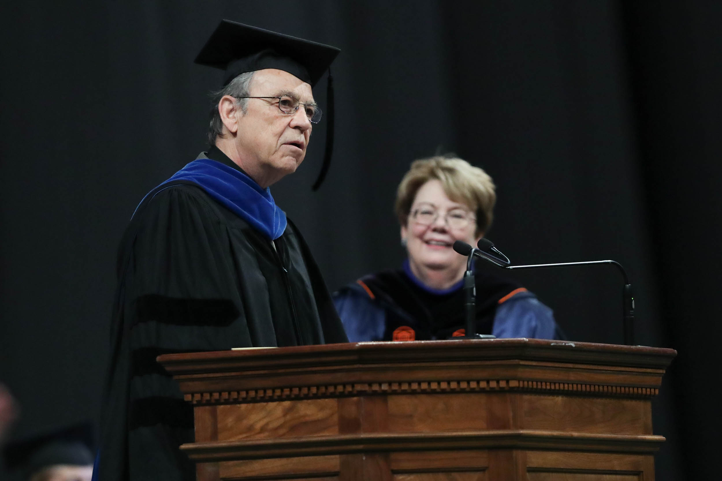 Jerome McGann, winner of the Thomas Jefferson Award for Scholarship, accepted the honor on behalf of his colleagues.
