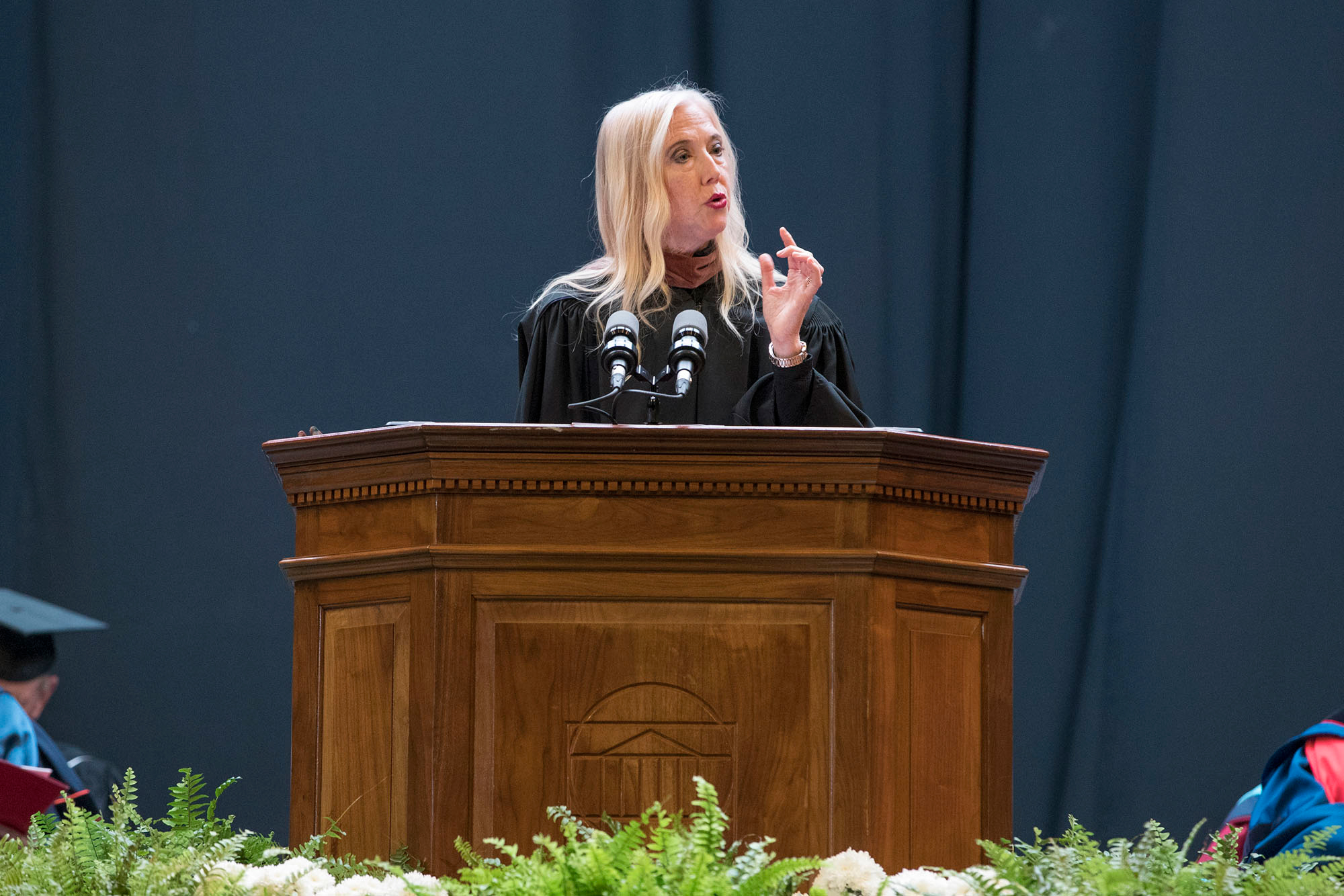 Poet Lisa Russ Spaar delivers the address at the 2017 Fall Convocation in the John Paul Jones Arena.