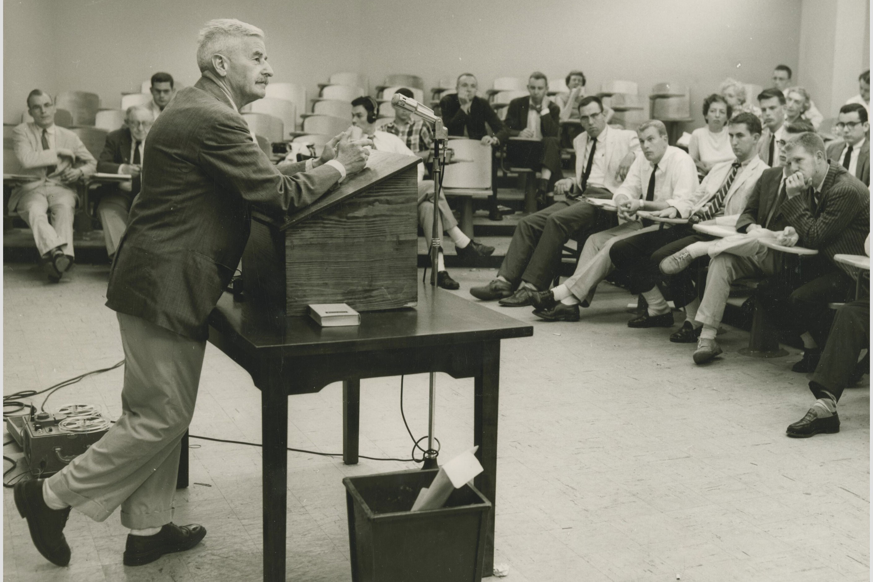 Faulkner came to the University in 1957 and 1958 for two terms as its first writer-in-residence and remains a prominent literary figure here.