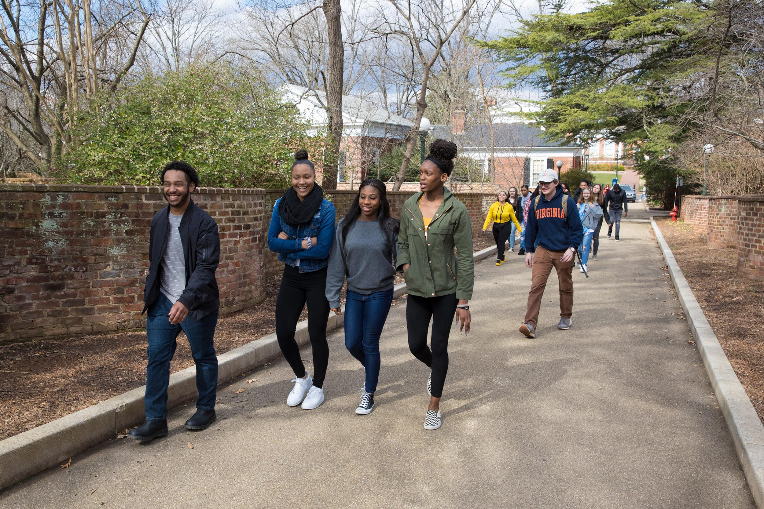 UVA and Monticello High School students head to the Lawn for a tailored tour for first-gen students.
