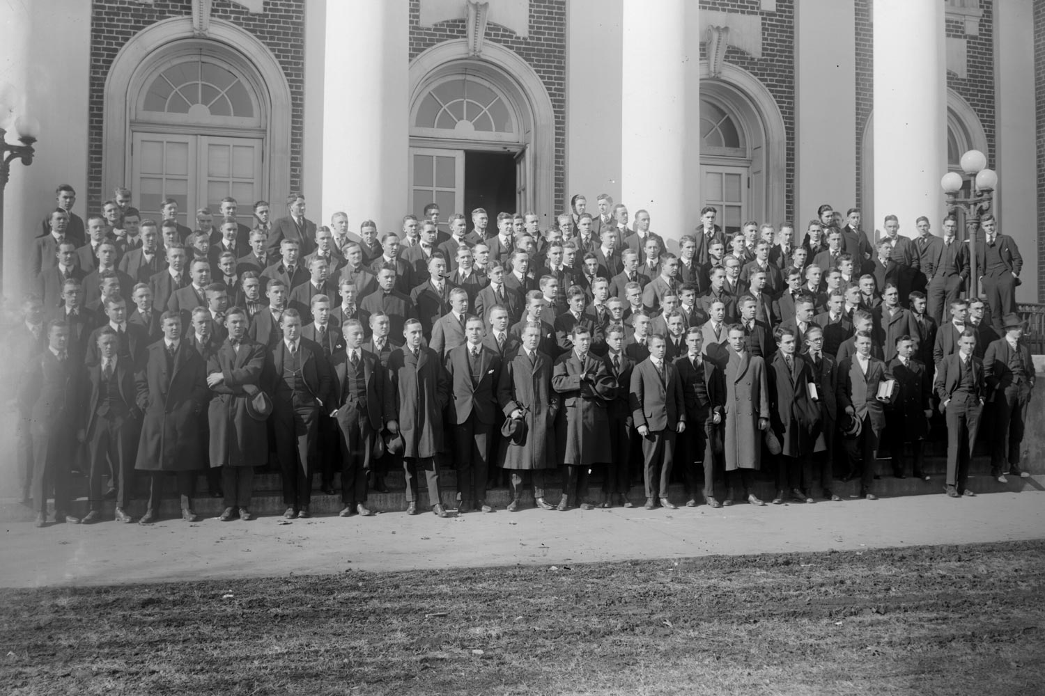 First- and second-year law students at the University of Virginia in 1916. (Photo by Rufus W. Holsinger, Holsinger Studio Collection at the UVA Albert and Shirley Small Special Collections Library)