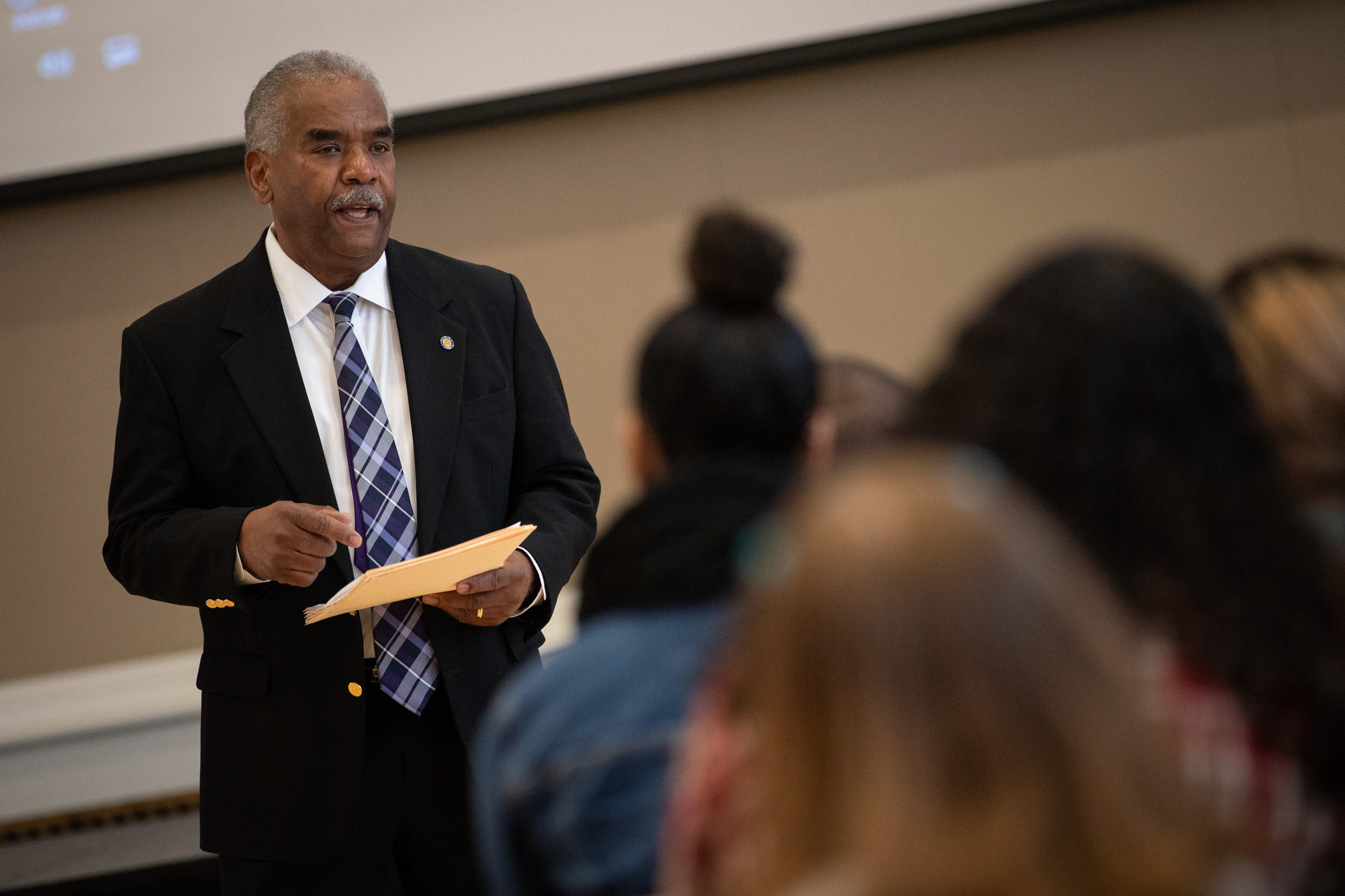 Marcus Martin, UVA's outgoing vice president and chief officer for diversity and equity, told the high-schoolers about his experience as a first-gen student.