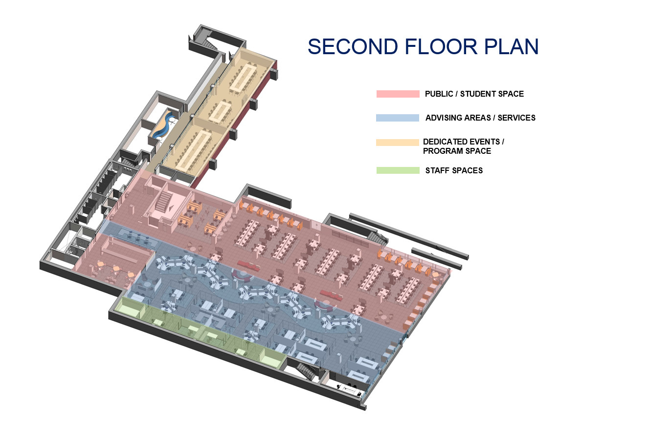 Located on the second floor of Clemons Library, the advising center's open  floor plan will allow light to permeate the space while providing zones for private advising, group events and individual study.