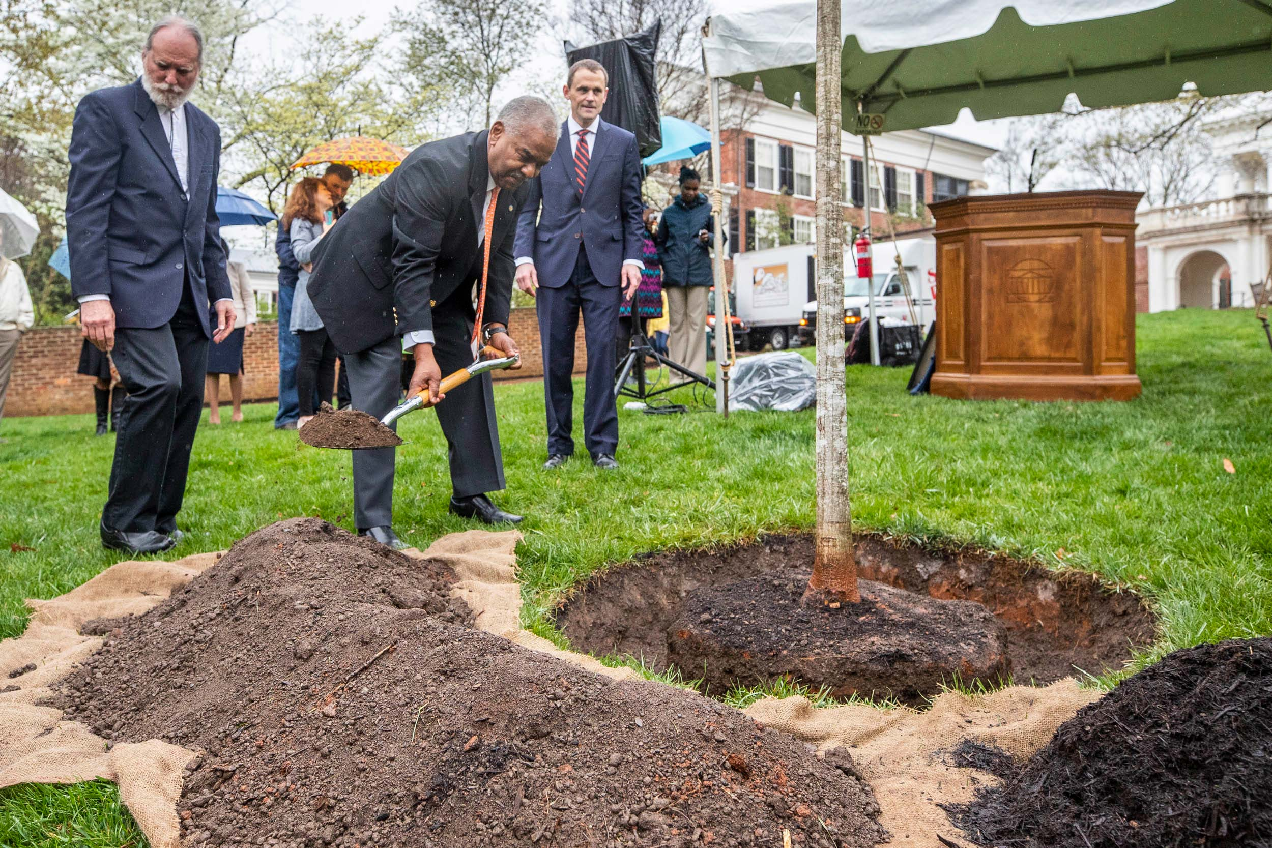 The annual UVA's Founders Day celebration included the tree-planting ceremony, this year in honor of Martin, with shovel. (Photo by Sanjay Suchak, University Communications)