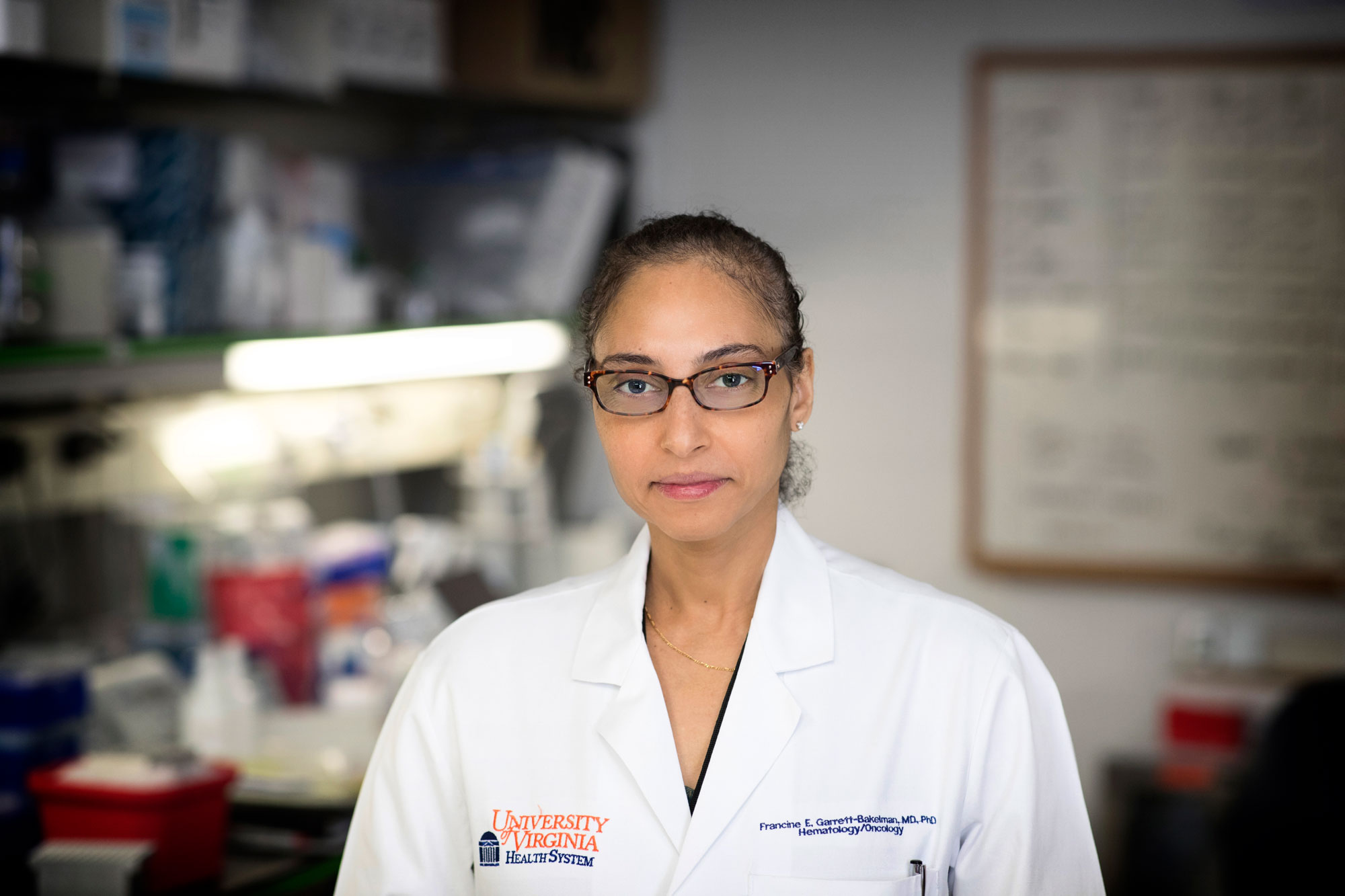 Francine Garrett-Bakelman, now a cancer doctor and researcher at UVA, helped NASA compare blood samples from astronaut Scott Kelly and his identical twin, Mark. (Photo by Dan Addison, University Communications)