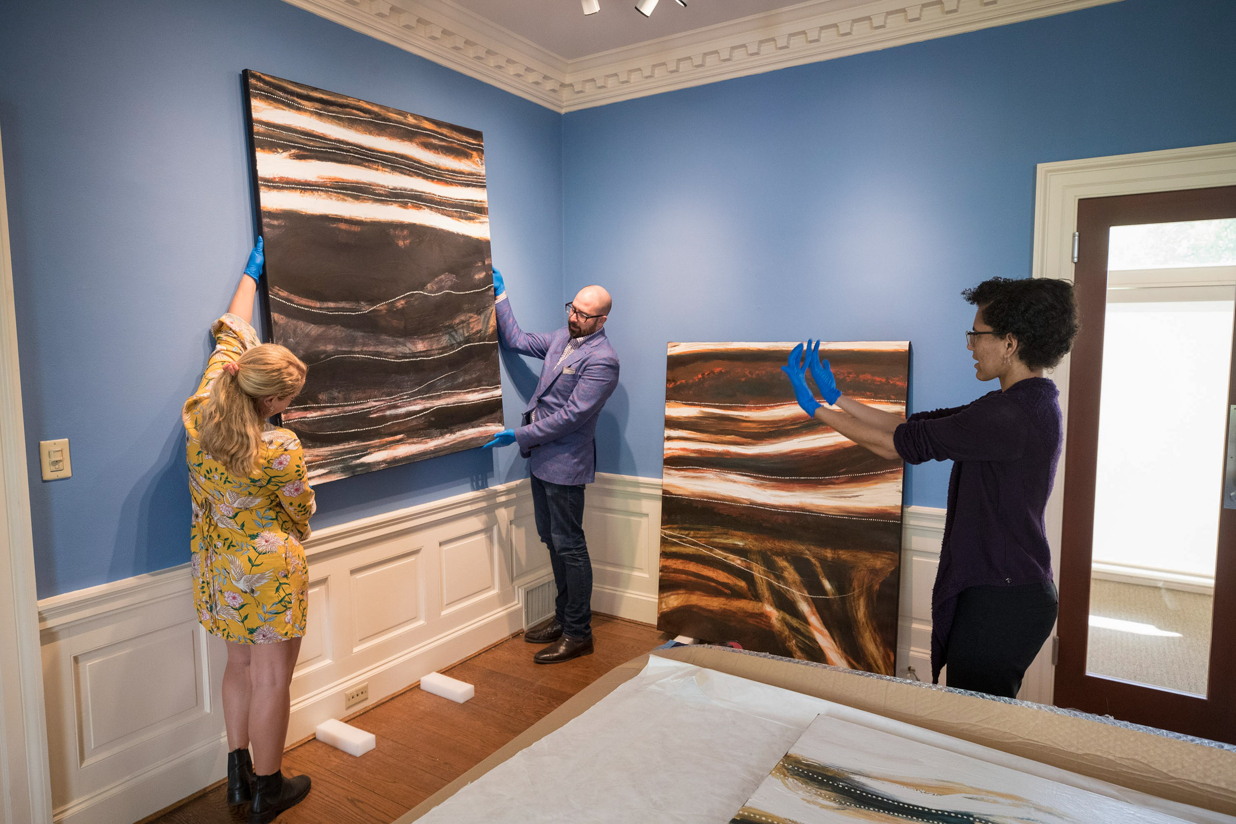 Fuller had hands-on experience with indigenous art at the Kluge-Ruhe Aboriginal Art Collection.