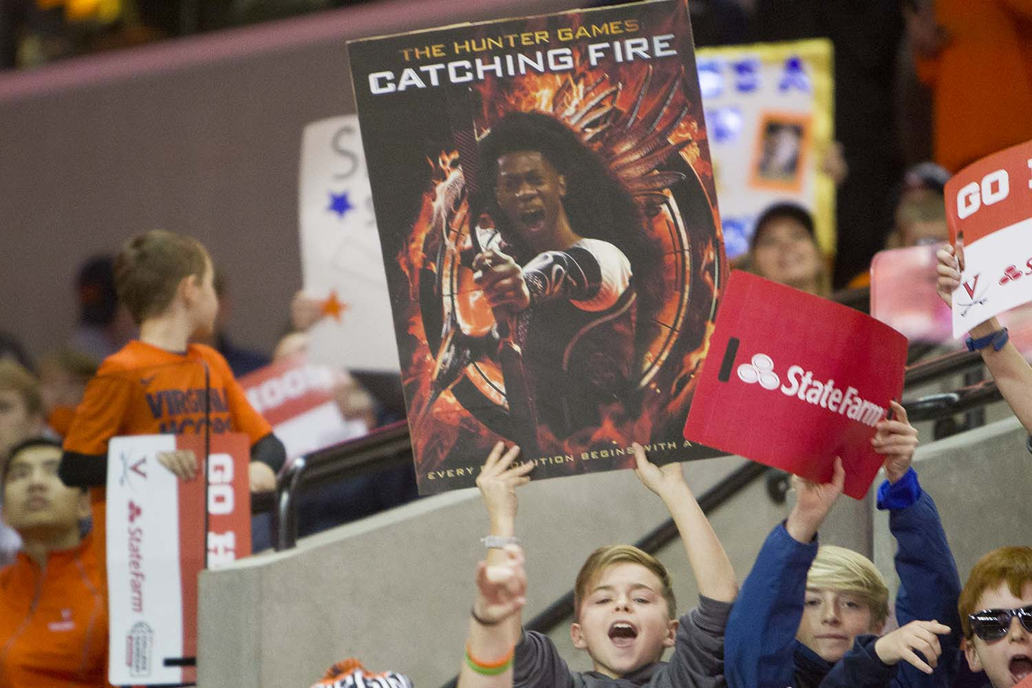 """Sign reading """"Hunter games, catching fire"""""""