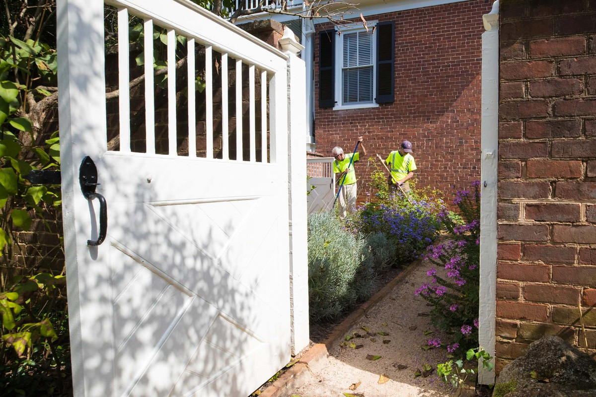 Gardeners Mike Beaudreau and Tim Andrus spruce up around some shrubs.