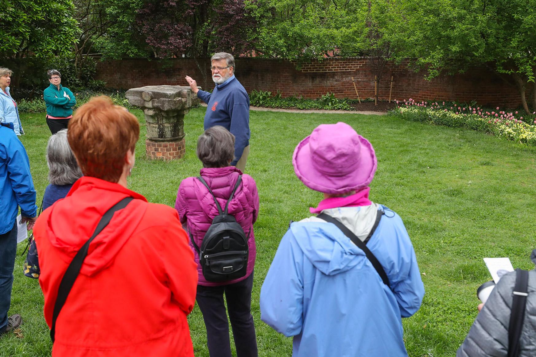 : UVA gardener John Sauer, who works in Facilities Management's landscaping division, led garden tours for Historic Garden Week, starting here in the Pavilion I garden.
