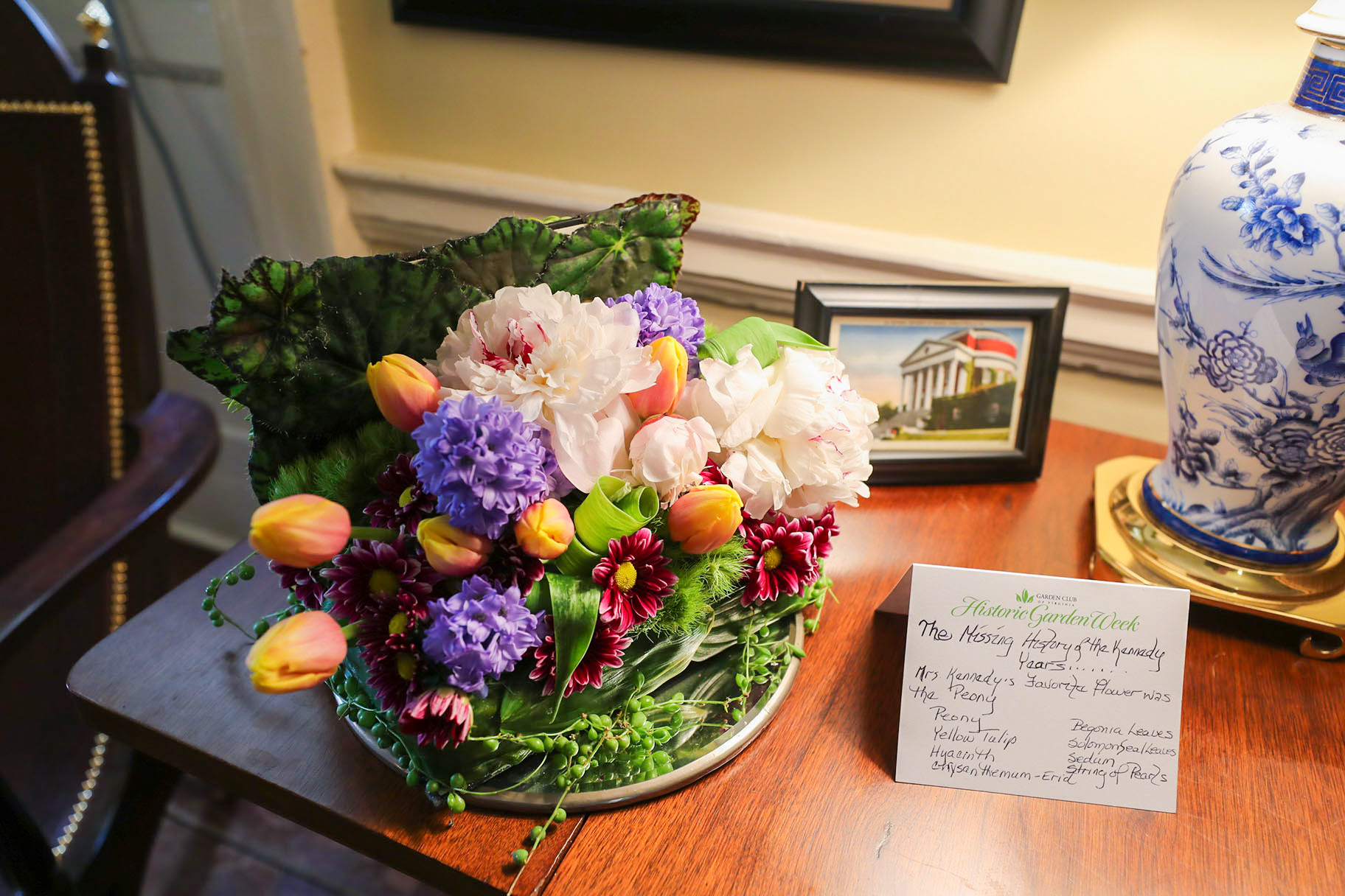Politics professor Larry Sabato opened his home in Pavilion IV for Historic Garden Week. This floral arrangement, featuring peonies –Jackie Kennedy's favorite flowers – and others appear courtesy of the Keswick Garden Club.