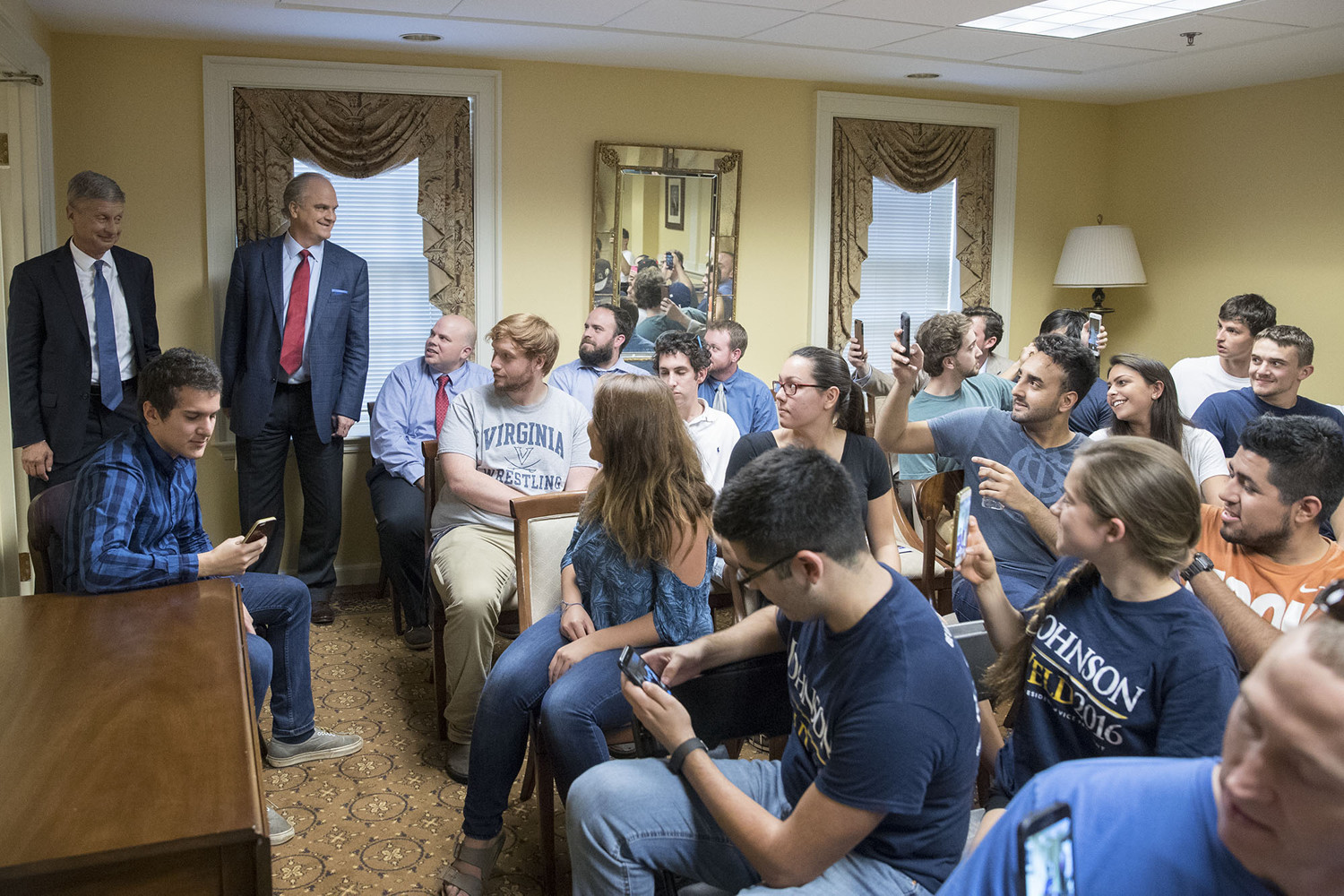 Presidential candidate Gary Johnson took time to greet students before appearing on Monday's edition of American Forum.