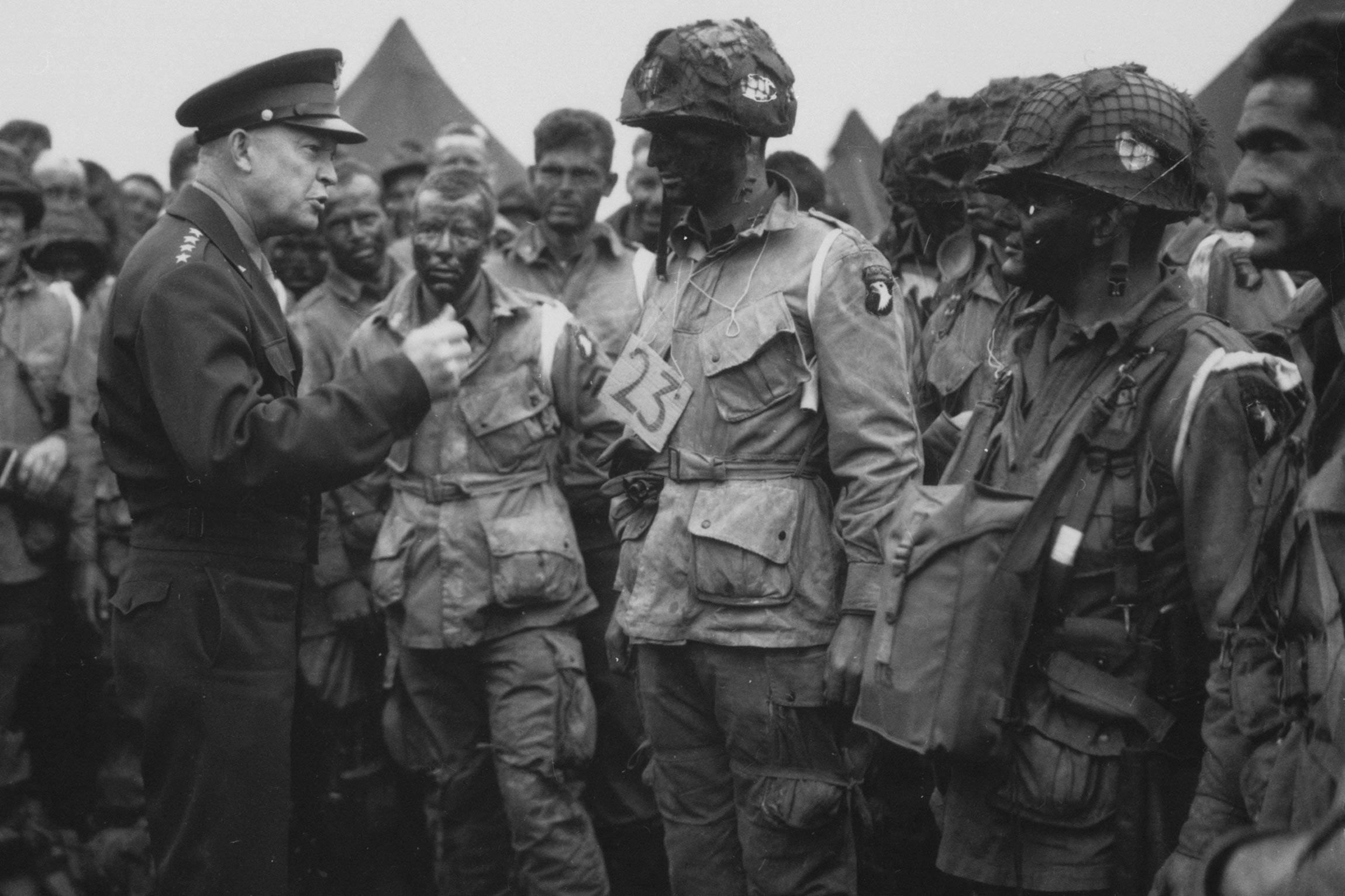General Dwight D. Eisenhower meeting the troops prior to the Normandy invasion on June 5, 1944.