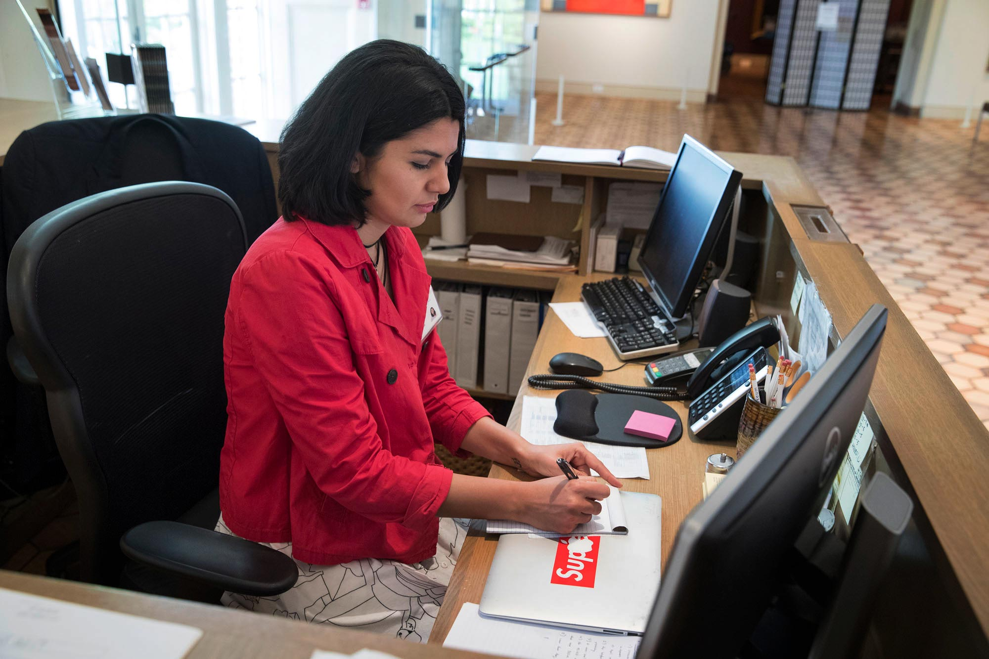 Haghtalab's many roles at the museum including working as the head receptionist.