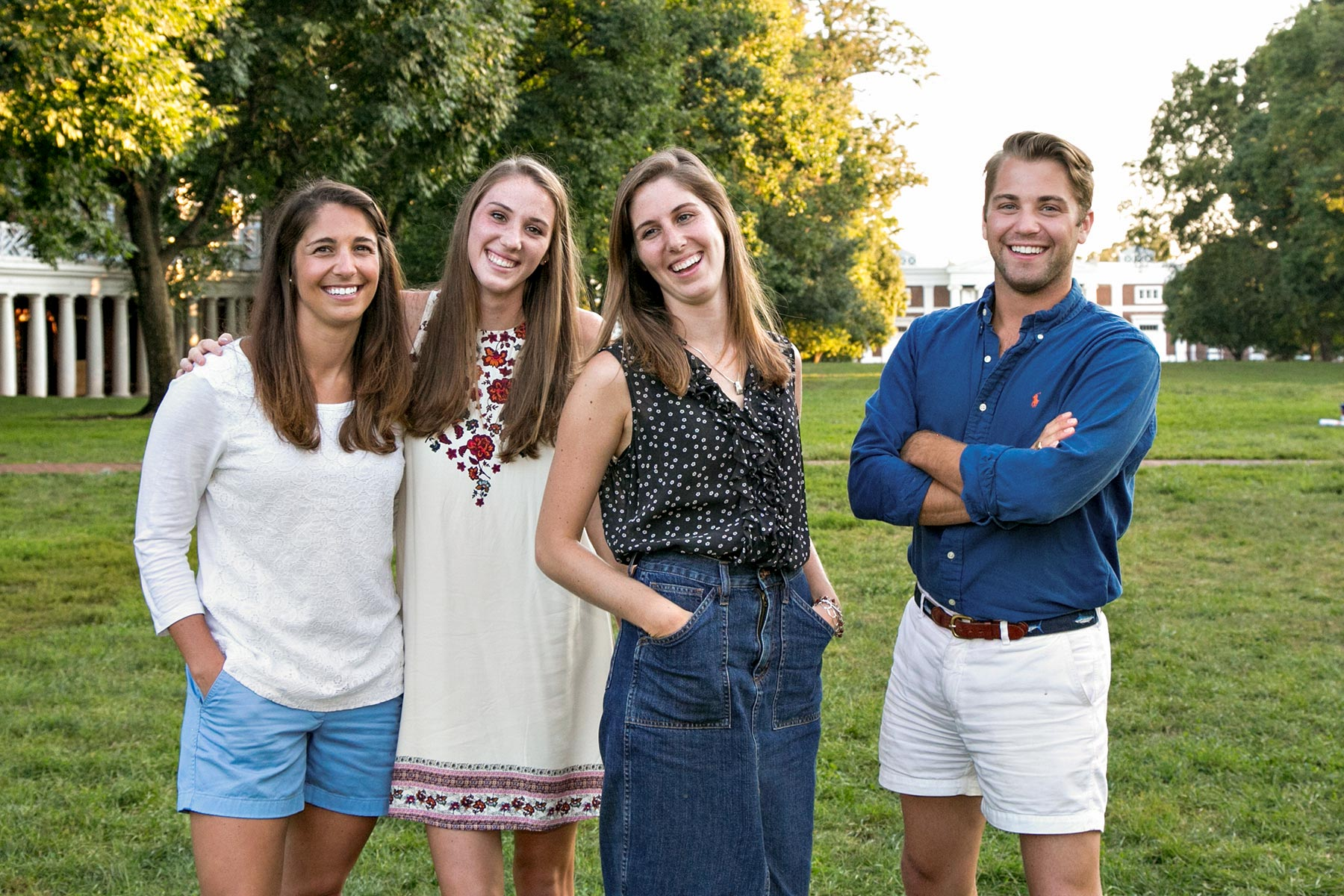 Catesby Willis (second from left), a rising senior  on the field hockey team, is a sixth-generation UVA student, pictured here with her siblings and fellow Hoos.
