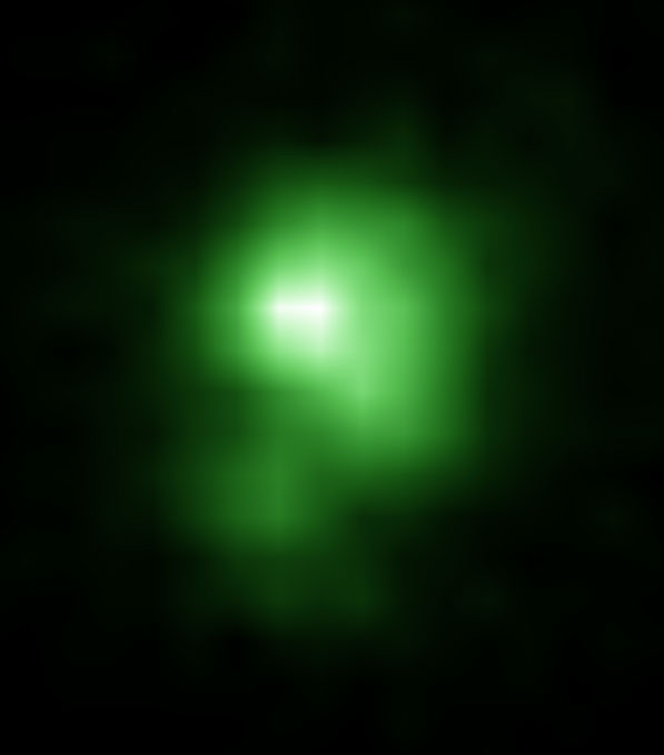 A Hubble Space Telescope image of the compact green pea galaxy J0925+1403. The diameter of the galaxy is approximately 6,000 light years, and it is about twenty times smaller than the Milky Way. Credit: NASA