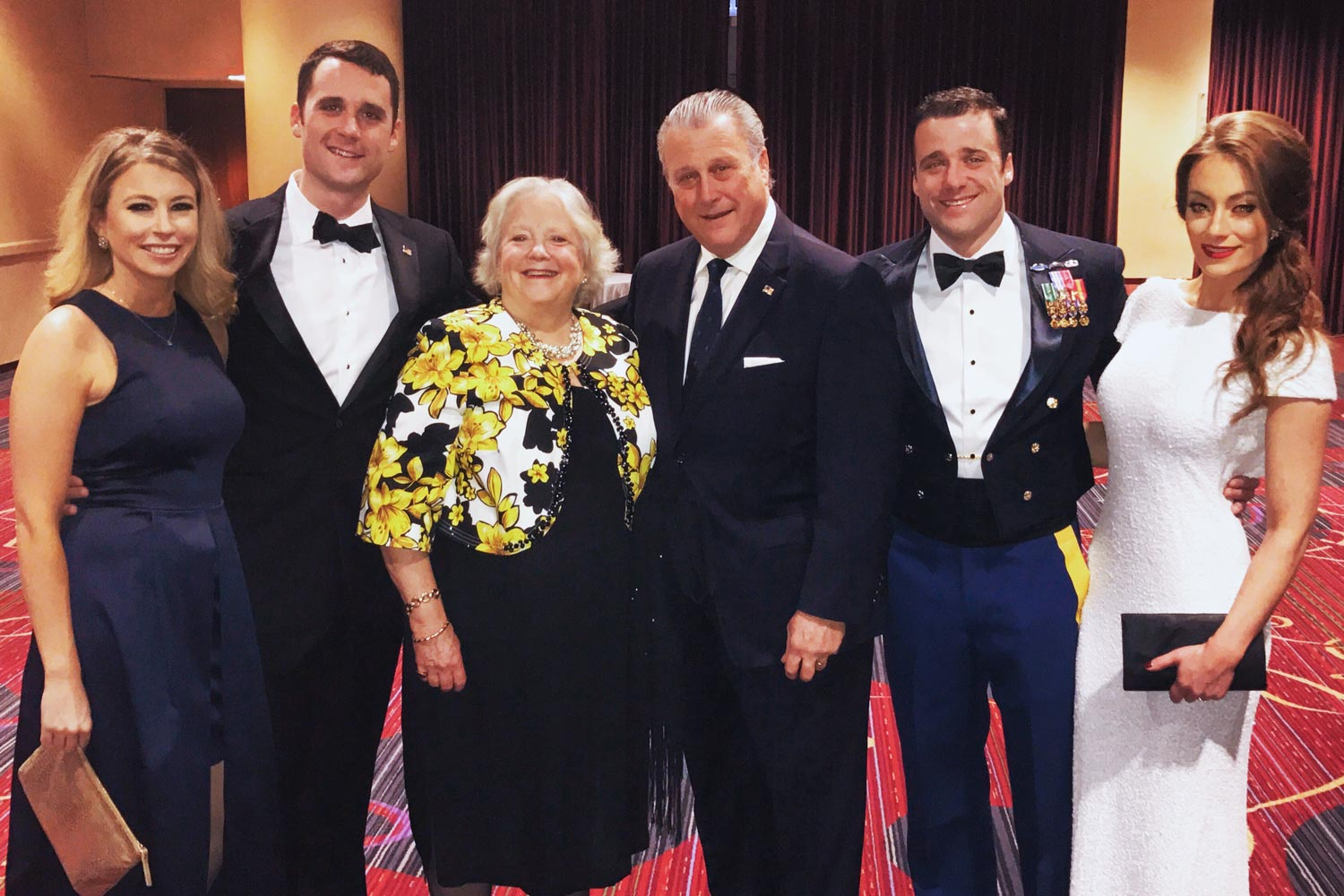 Sargent with his family after receiving the Silver Star. From left to right: Meaghan Doherty, Porter Sargent, Jennifer Sargent, Michael Sargent, Sargent and Kelly Smith.