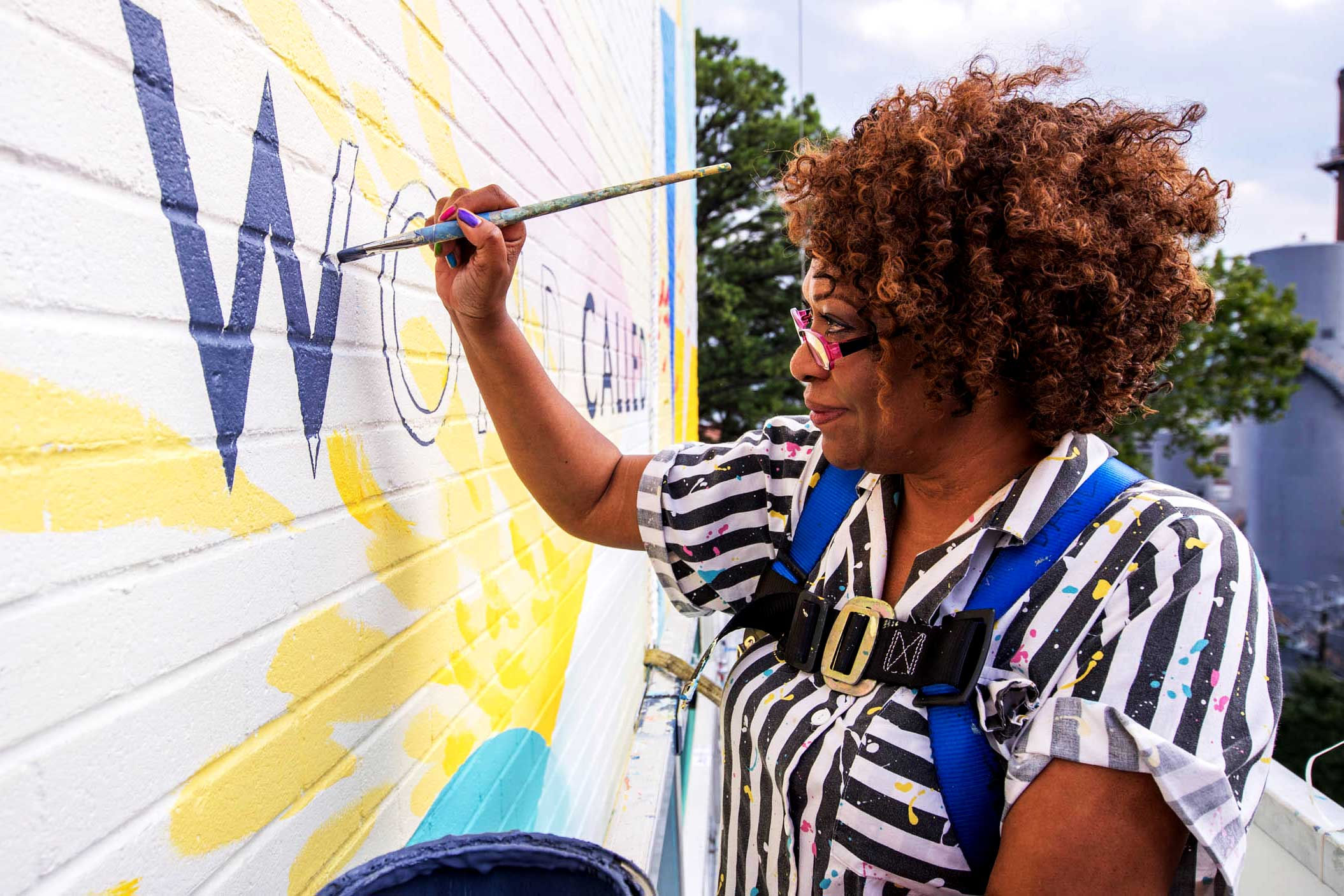 UVA Professor Rita Dove helped out on a new mural on the Corner inspired by one of poems.