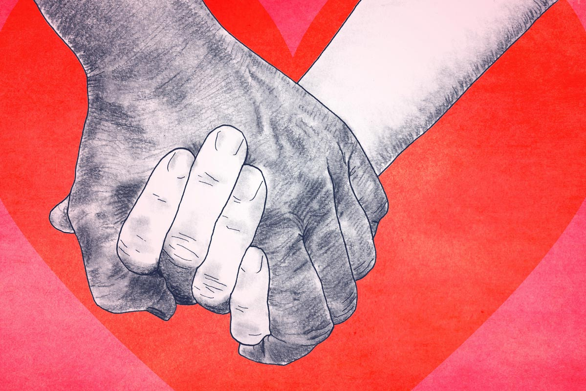 "James Coan teaches a popular class on handholding. He says holding hands with a trusted partner ""is literally good for your health."" (Illustration by Alex Angelich, University Communications)"