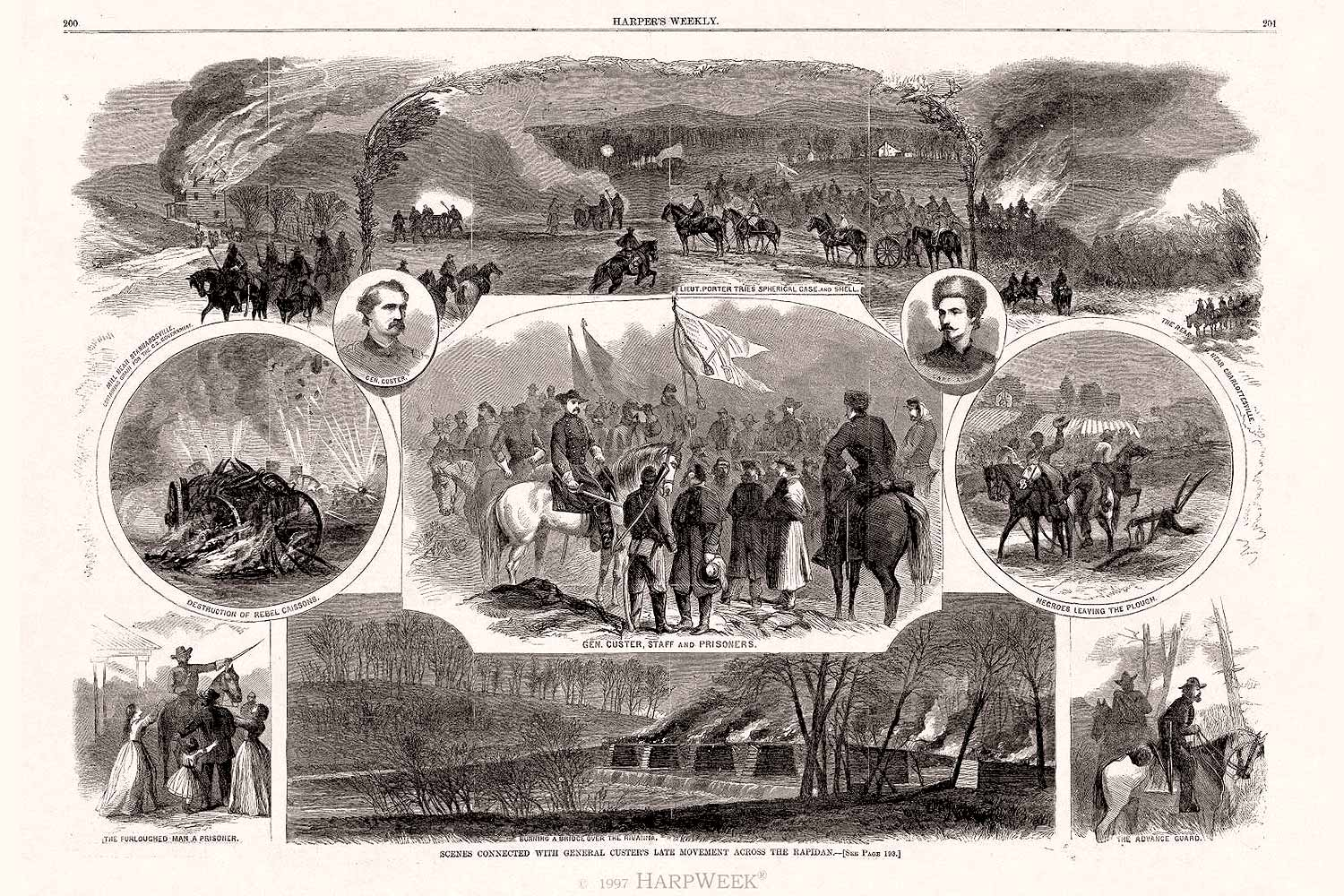 A.R. Waud's sketches for Harper's Weekly of the events of the Battle of Rio Hill.
