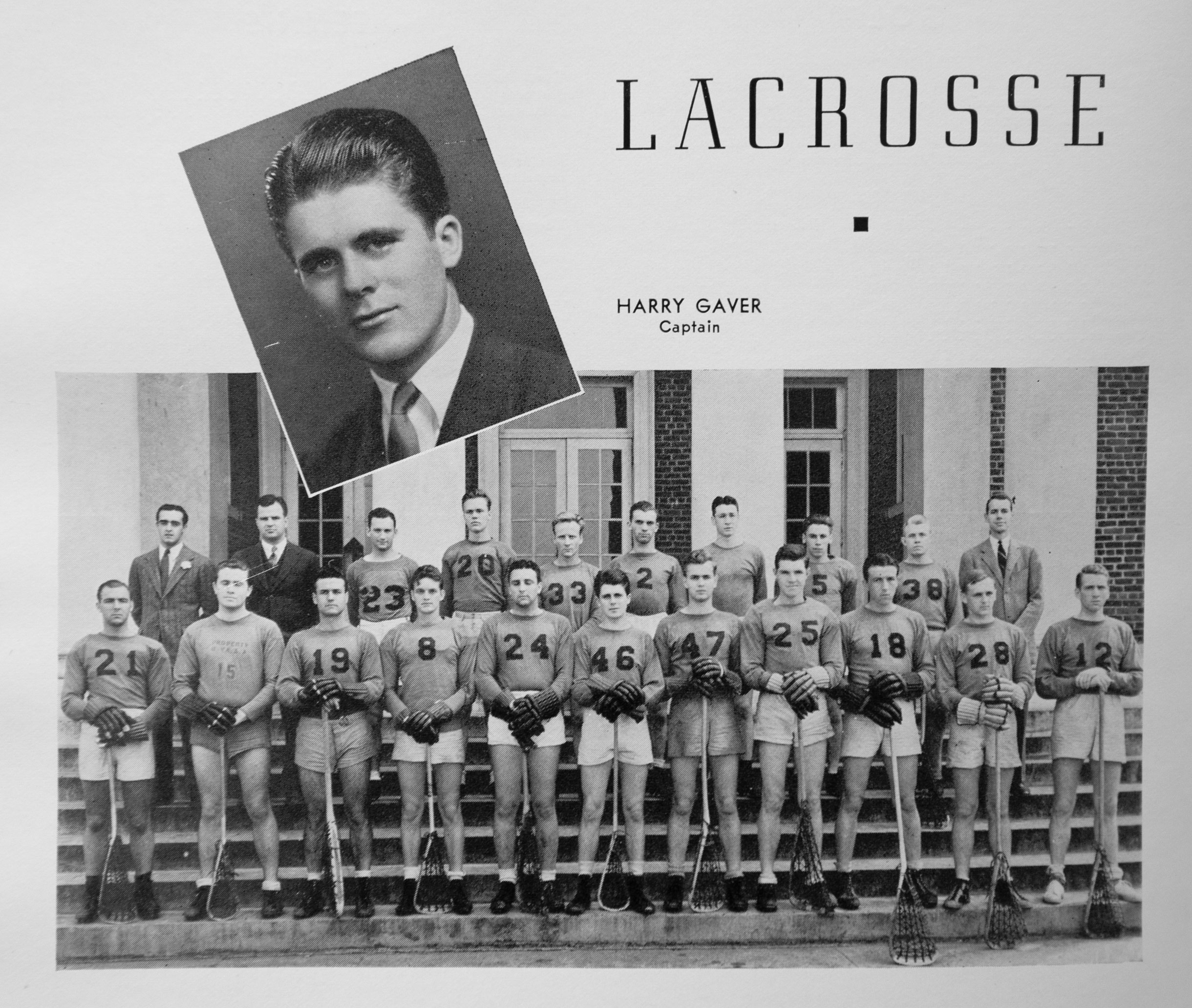 Gaver was captain of the 1939 lacrosse team. (Image: Corks and Curls)