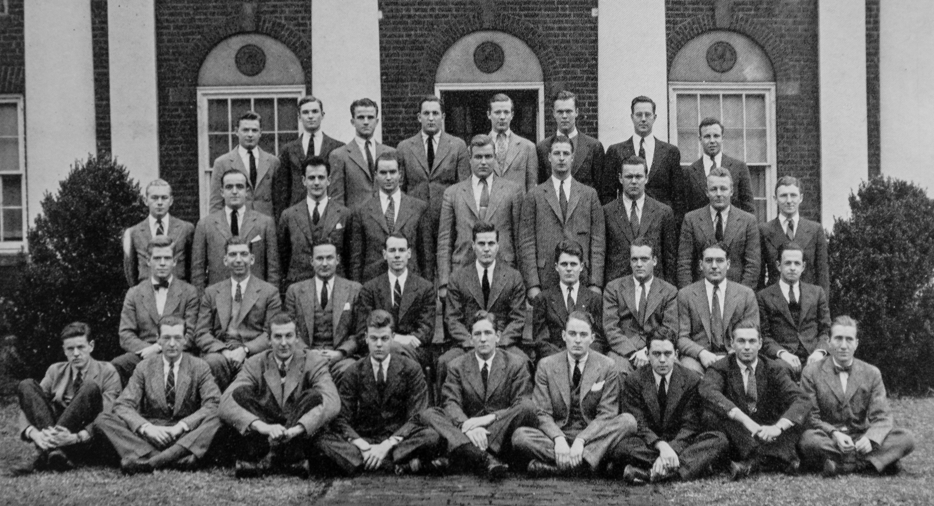 Gaver, fourth from right on the second row, was a member of the Kappa Sigma fraternity, pictured here in 1939. (Image: Corks and Curls)