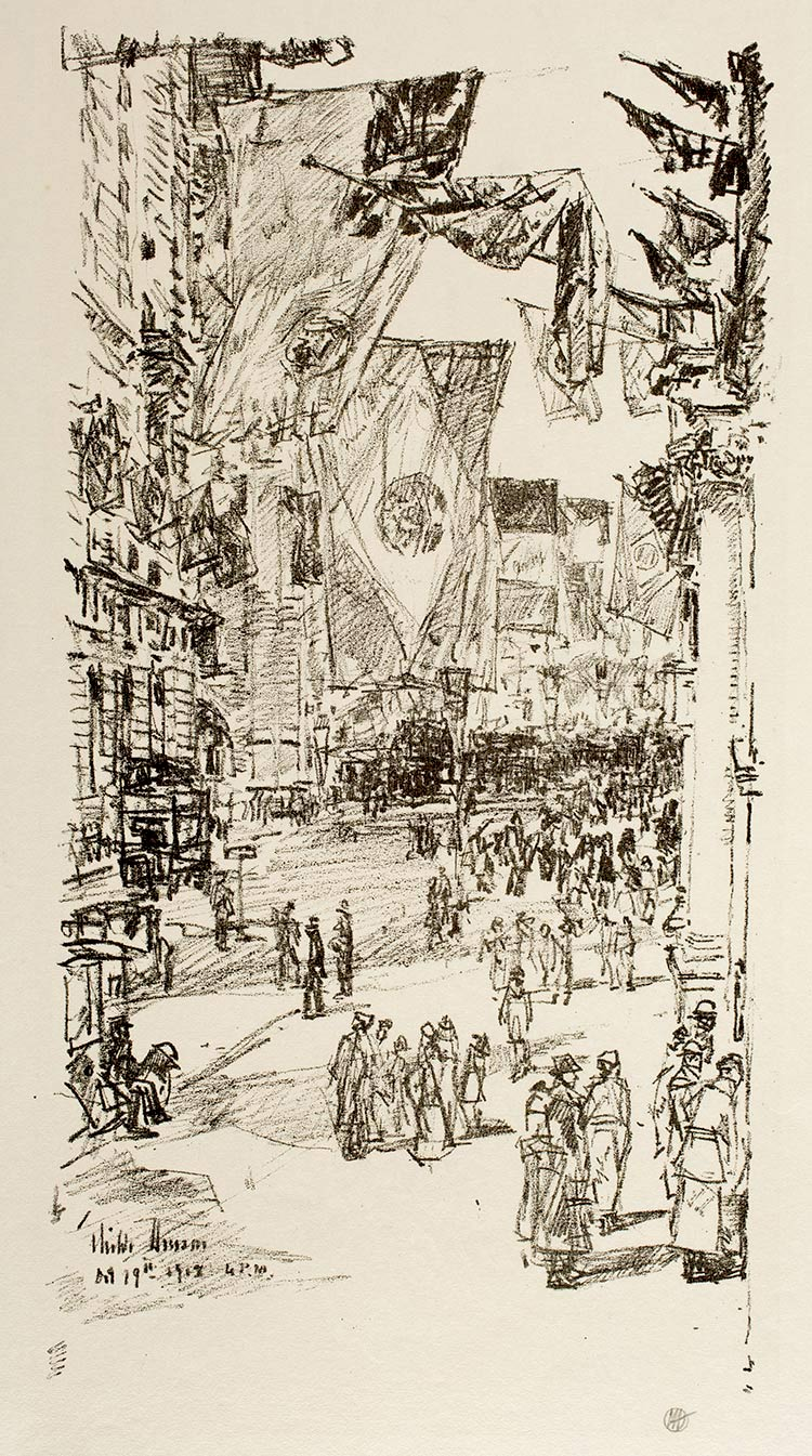 Childe Hassam: Avenue of the Allies, 1918. Virginia Museum of Fine Arts, Richmond. Lithograph, promised gift of Frank Raysor. Photo: David Stover © Virginia Museum of Fine Arts