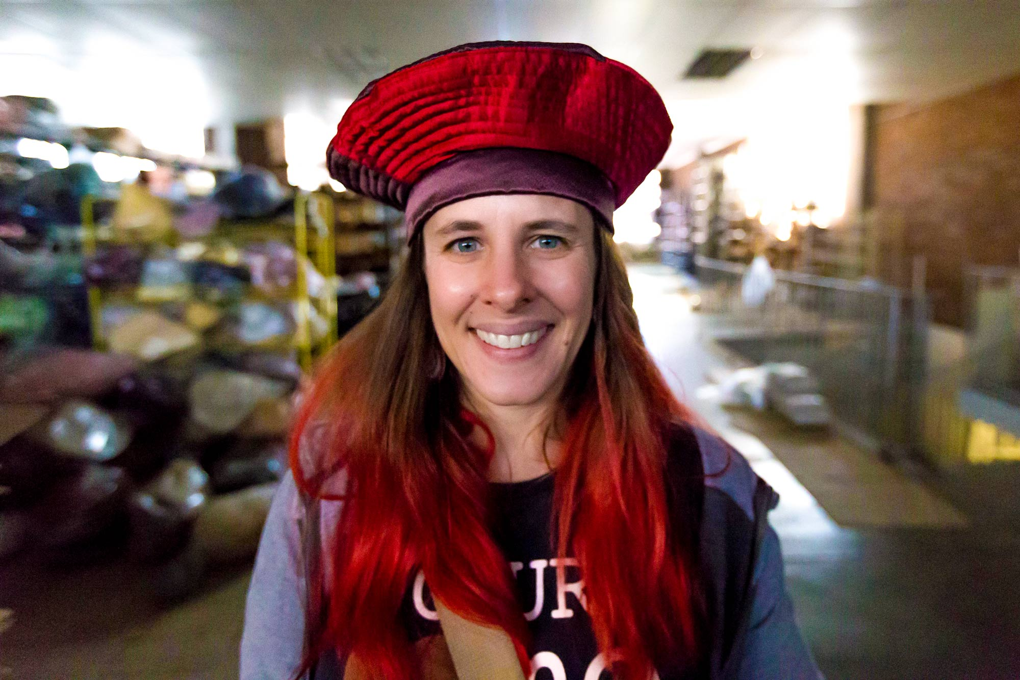 Mason explores a hat factory in downtown Johannesburg. (Photo by Gail Wilson, courtesy Heather Mason)