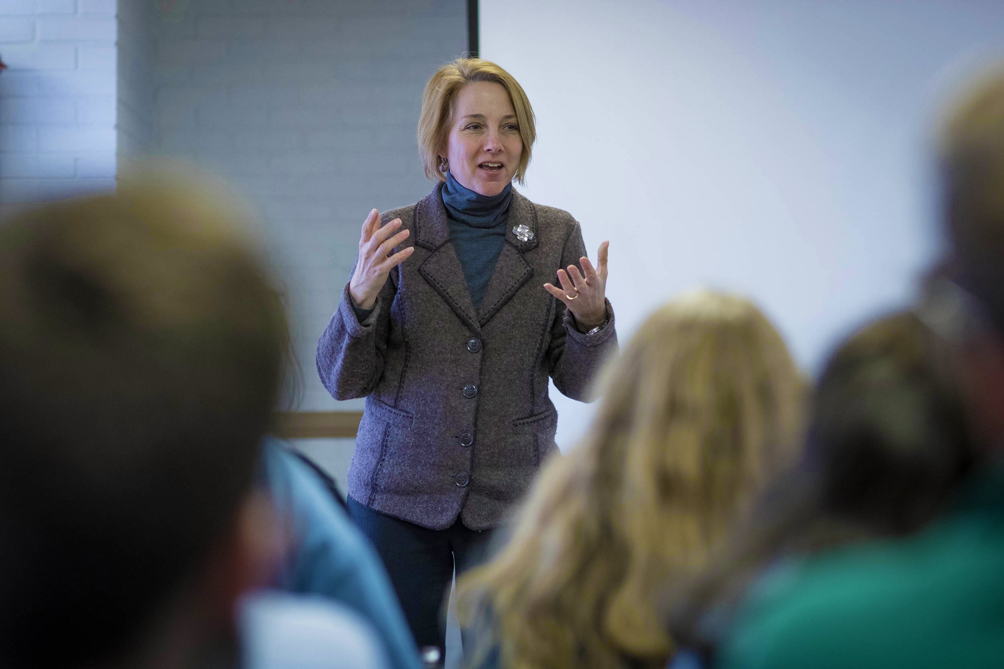 Students met with Highland executive director Sara Bon-Harper, shown above, several times throughout the spring semester.