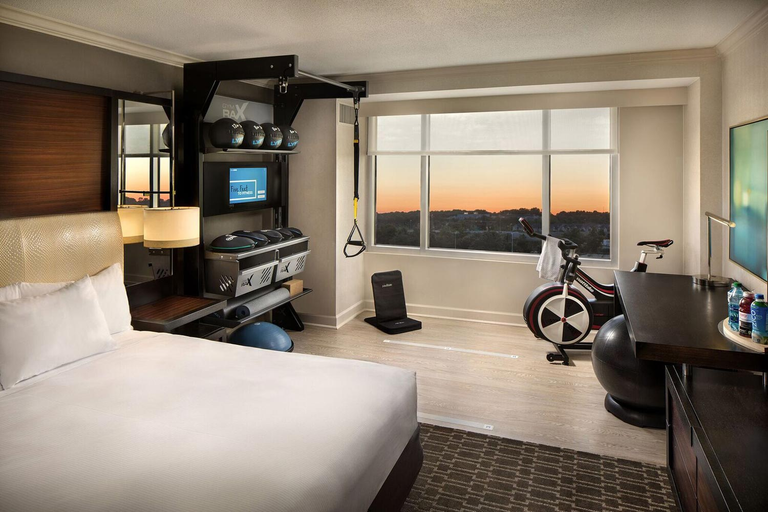 """Hilton's """"Five Feet to Fitness"""" concept brings workout equipment to rooms in a bid to capture health-inclined travelers. (Photo courtesy of Hilton)"""