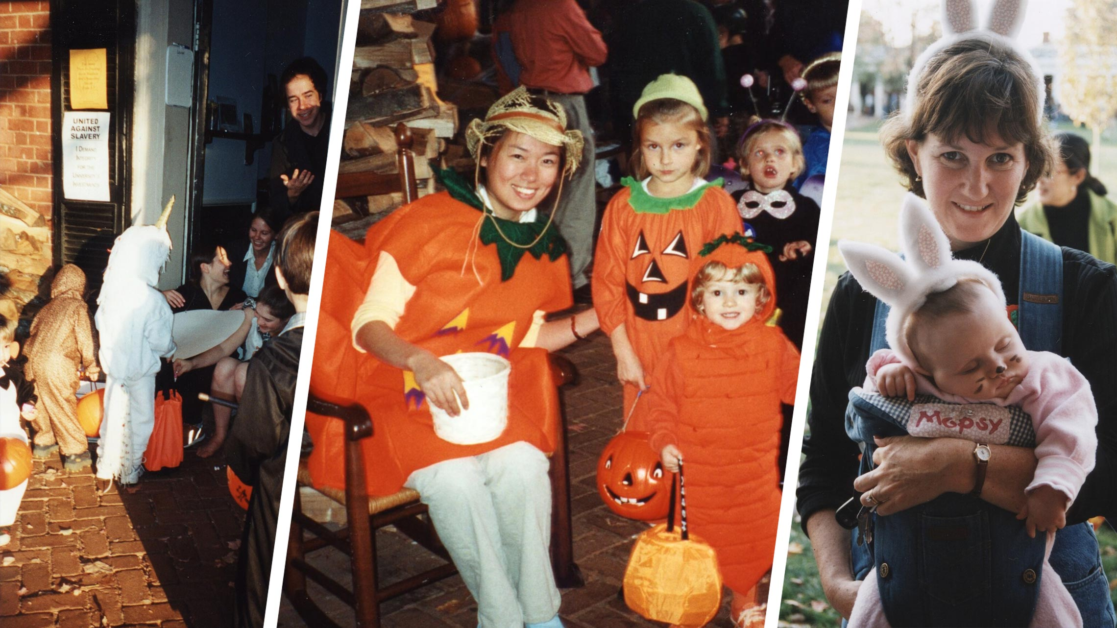 Children and college students in costumes and a mother and baby in bunny costumes