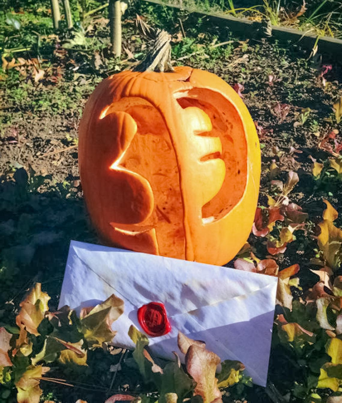 An envelope sealed with red wax in front of a pumpkin carved with the letter P.