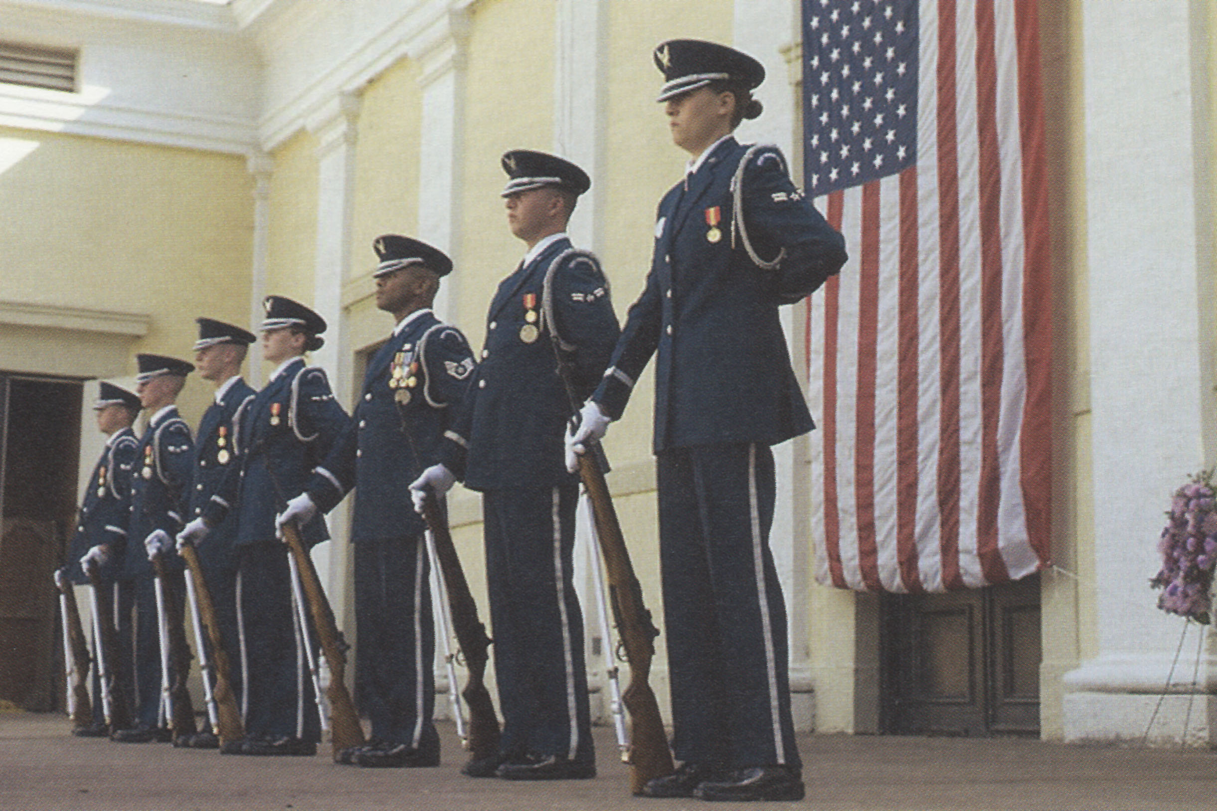 UVA ROTC students during a 2004 memorial service for Khan held on Grounds.